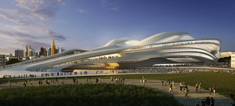 Diseño original de Zaha Hadid Architects para el Estadio Nacional de Tokio. Imagen © ZHA