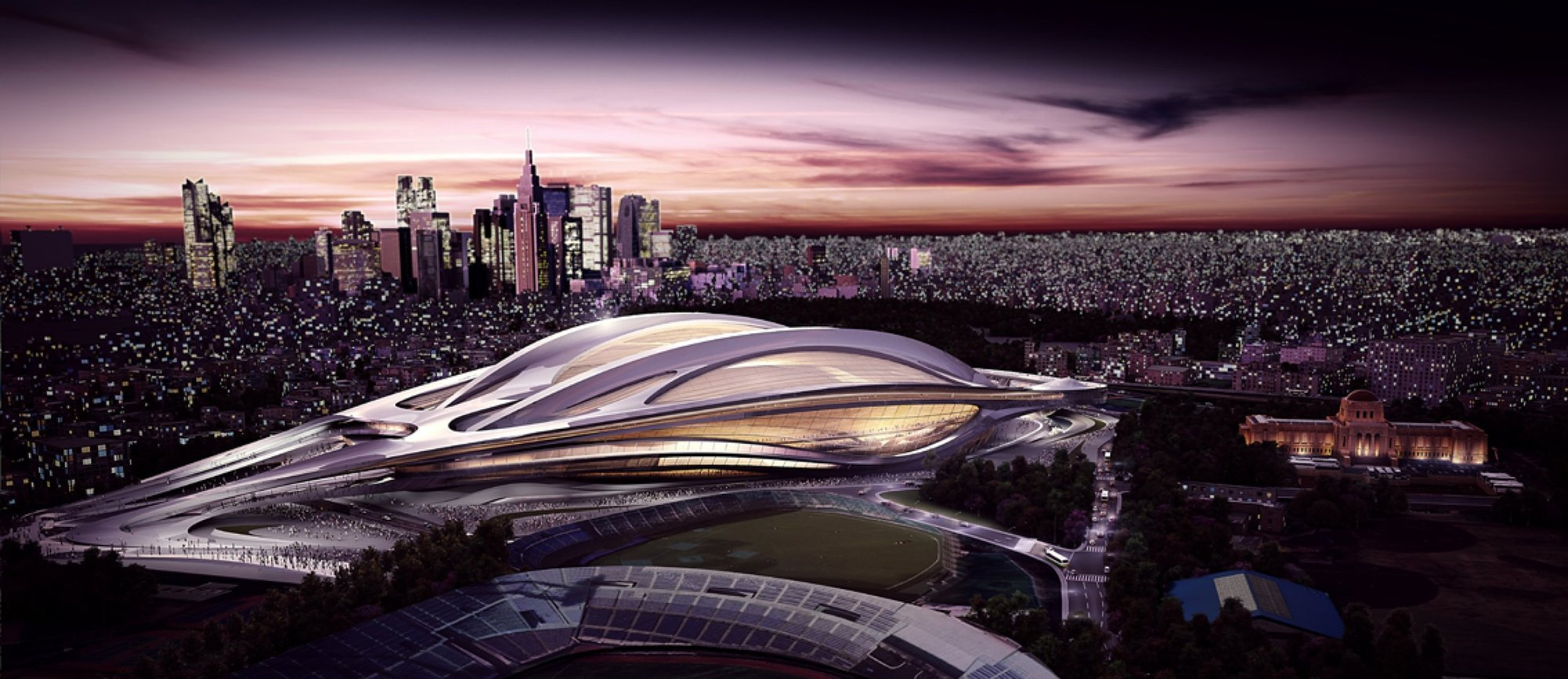 Zaha Hadid Architects Reveals Modified Tokyo National Stadium Designs, Zaha Hadid Architects' original design for the Tokyo National Stadium. Image Courtesy of ZHA