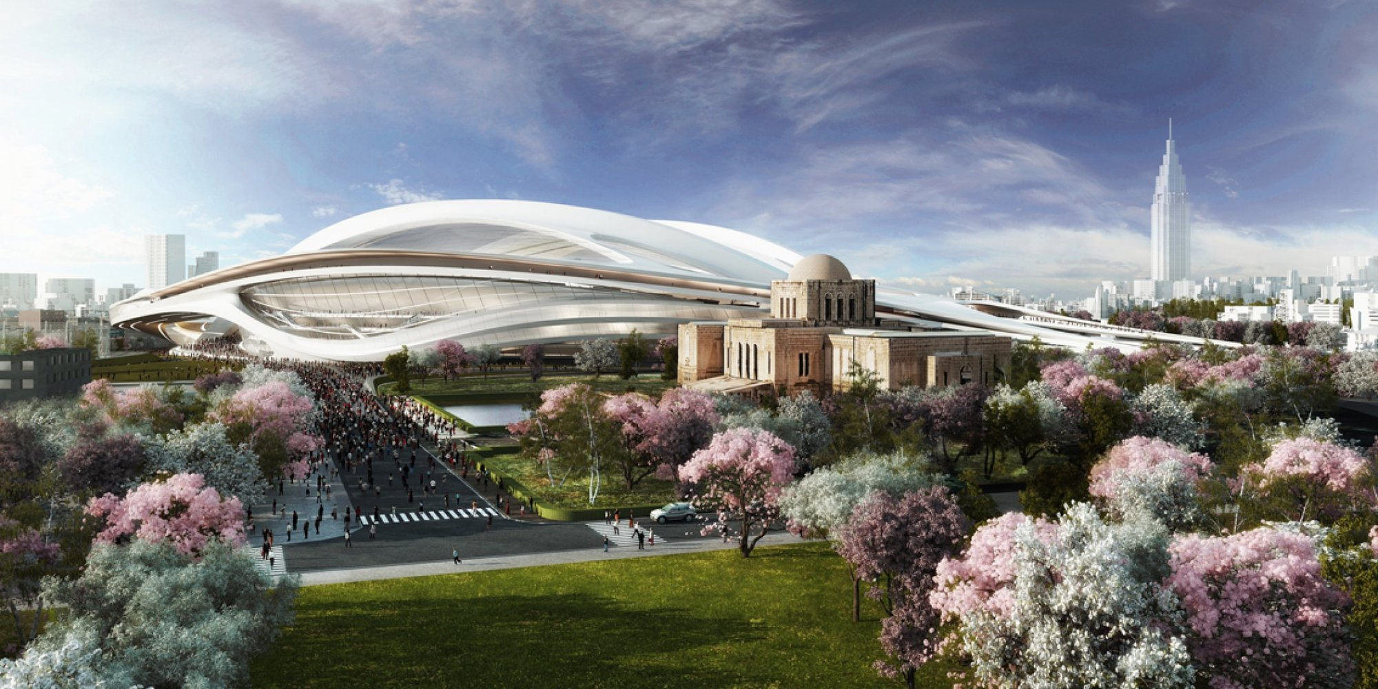 Zaha Hadid Architects' original design for the Tokyo National Stadium. Image Courtesy of ZHA