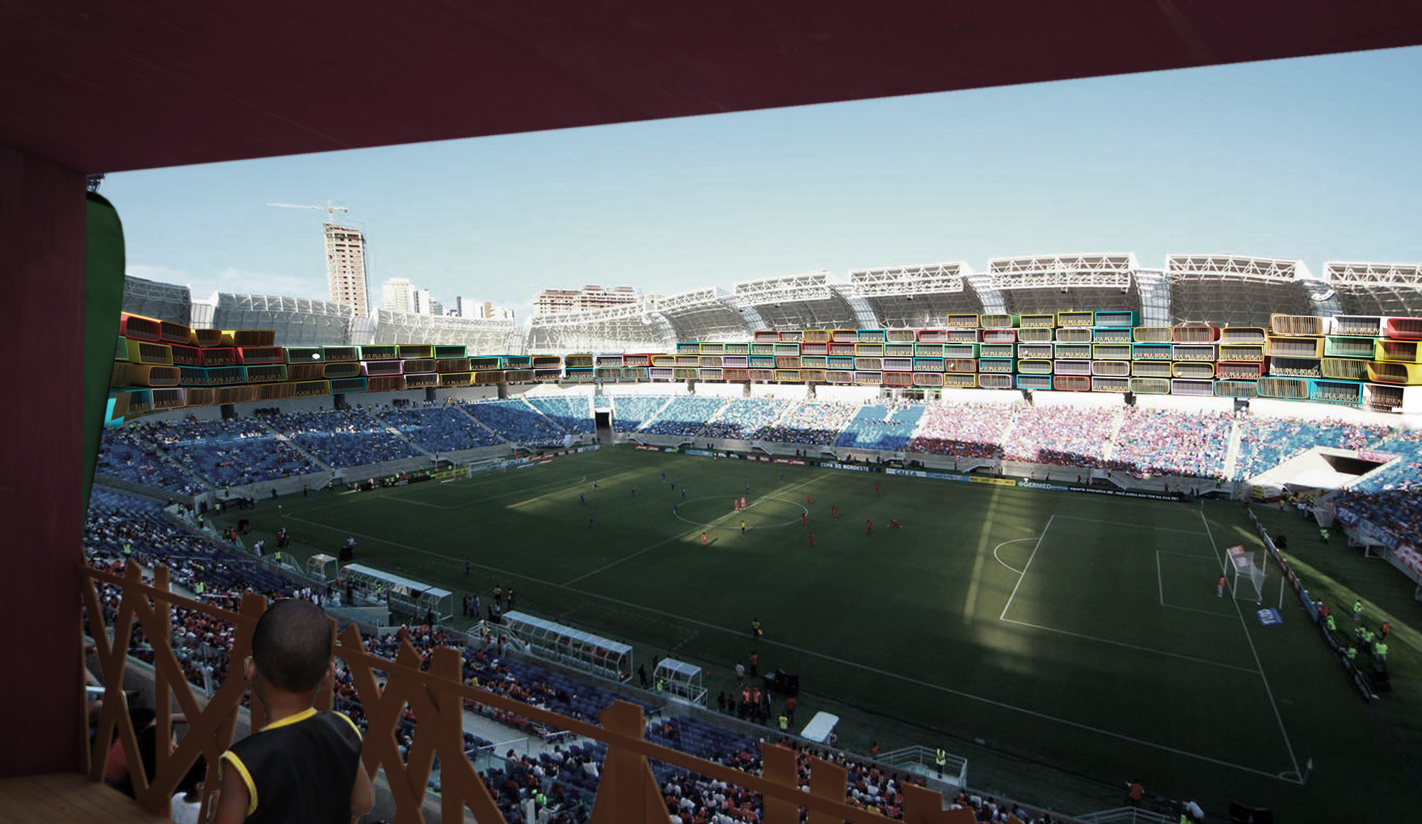Render of the Arena das Dunas, based on a photograph from copa2014.gov.br