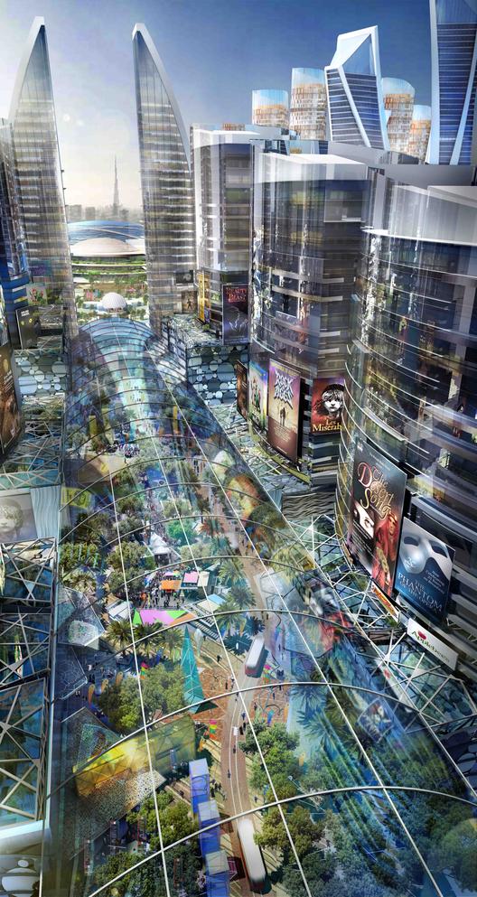 """Planificación de Dubai del """"Mall of the World"""", la primera """"Ciudad de temperatura controlada"""", Red de calles con temperatura controlada. Imágen cortesía de Dubai Holding"""