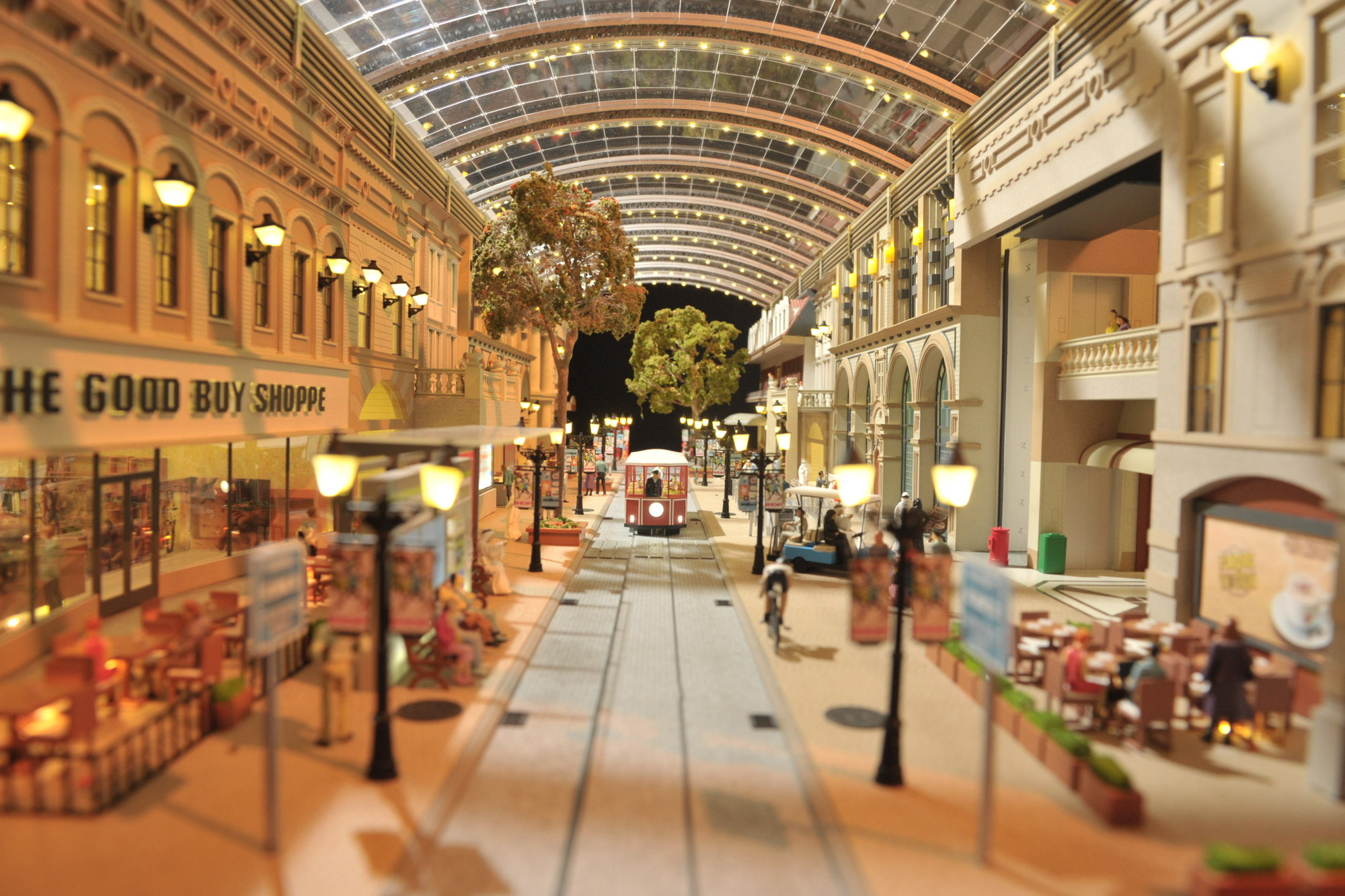 Trams within the 7km temperature-controlled retail street network. Image Courtesy of Dubai Holding