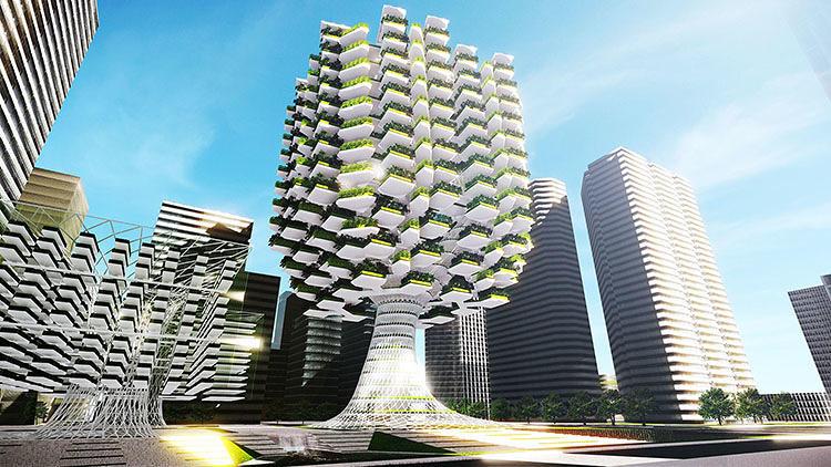 Tree-Like Skyscraper Takes Urban Farming to Next Level, Courtesy of Aprilli Design Studio