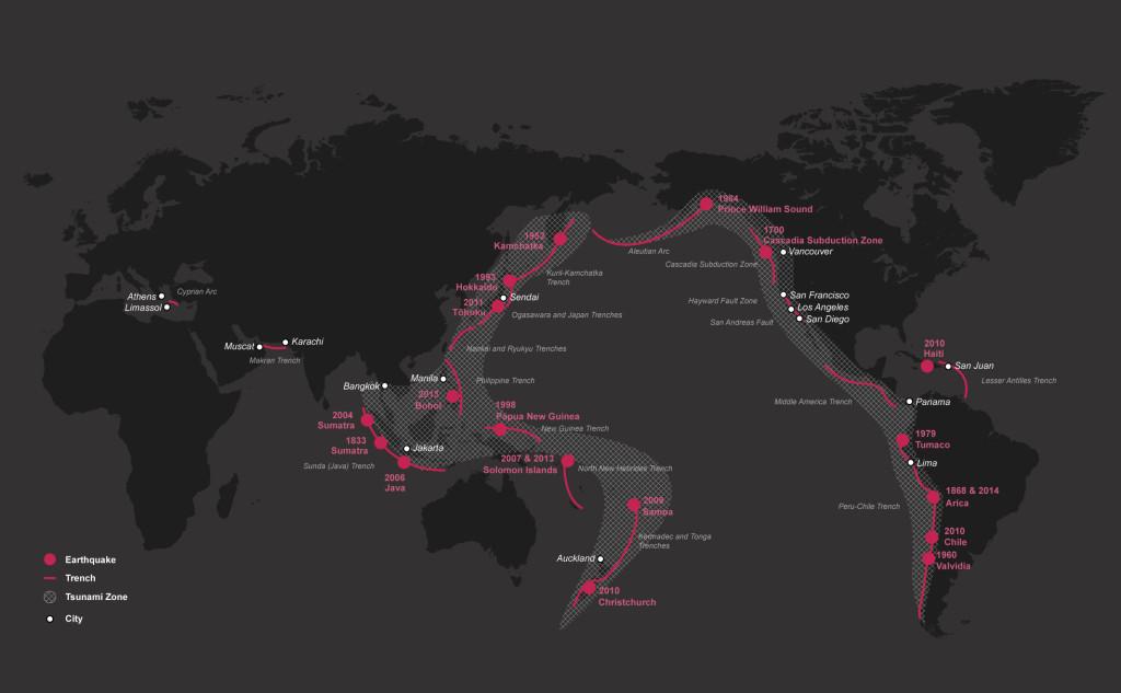 Hotspots de terremotos y tsunamis alrededor del mundo. Image