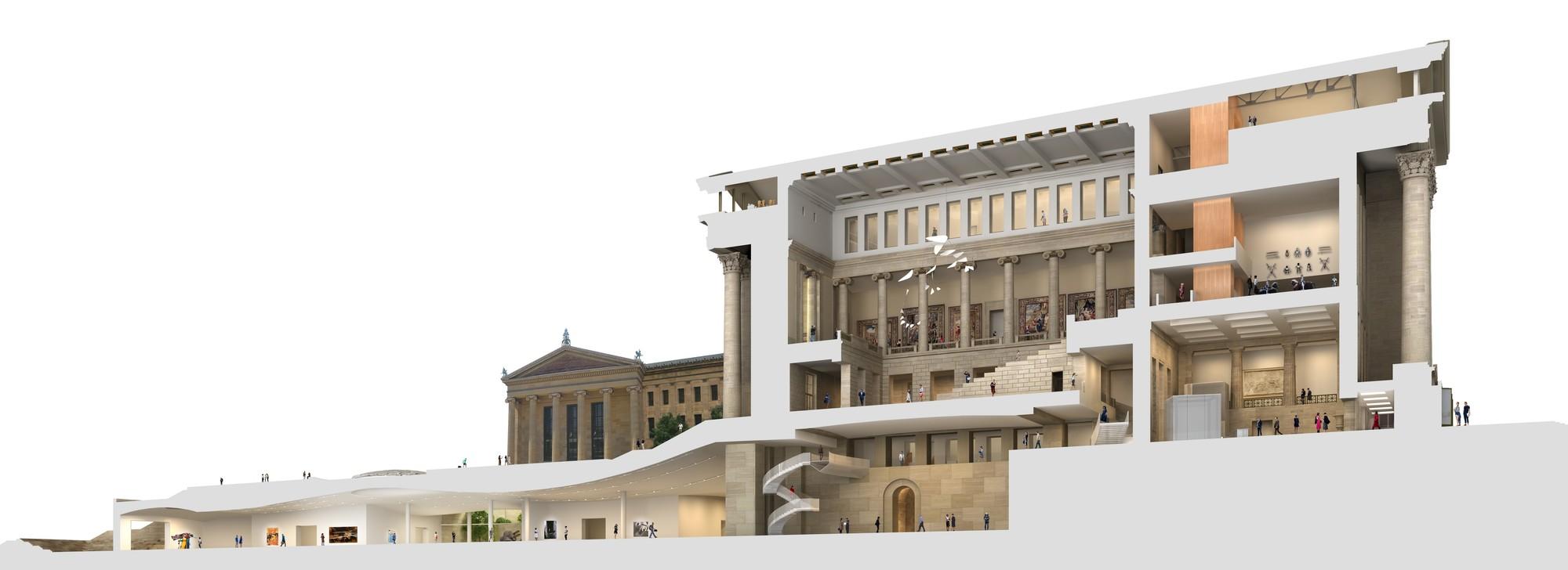 Vista de sección transversal mostrando los cambios de los espacios interiores existentes y las nuevas galerías subterráneas. Imágen © Gehry Partners, LLP