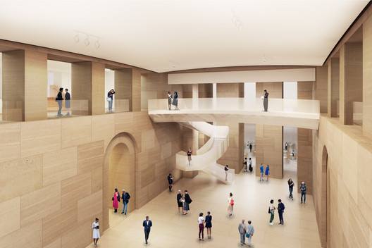 The heart of the Museum will be opened up, creating a clear sight line through the ground-floor and first-floor galleries that will greatly simplify wayfinding. Image © Gehry Partners, LLP