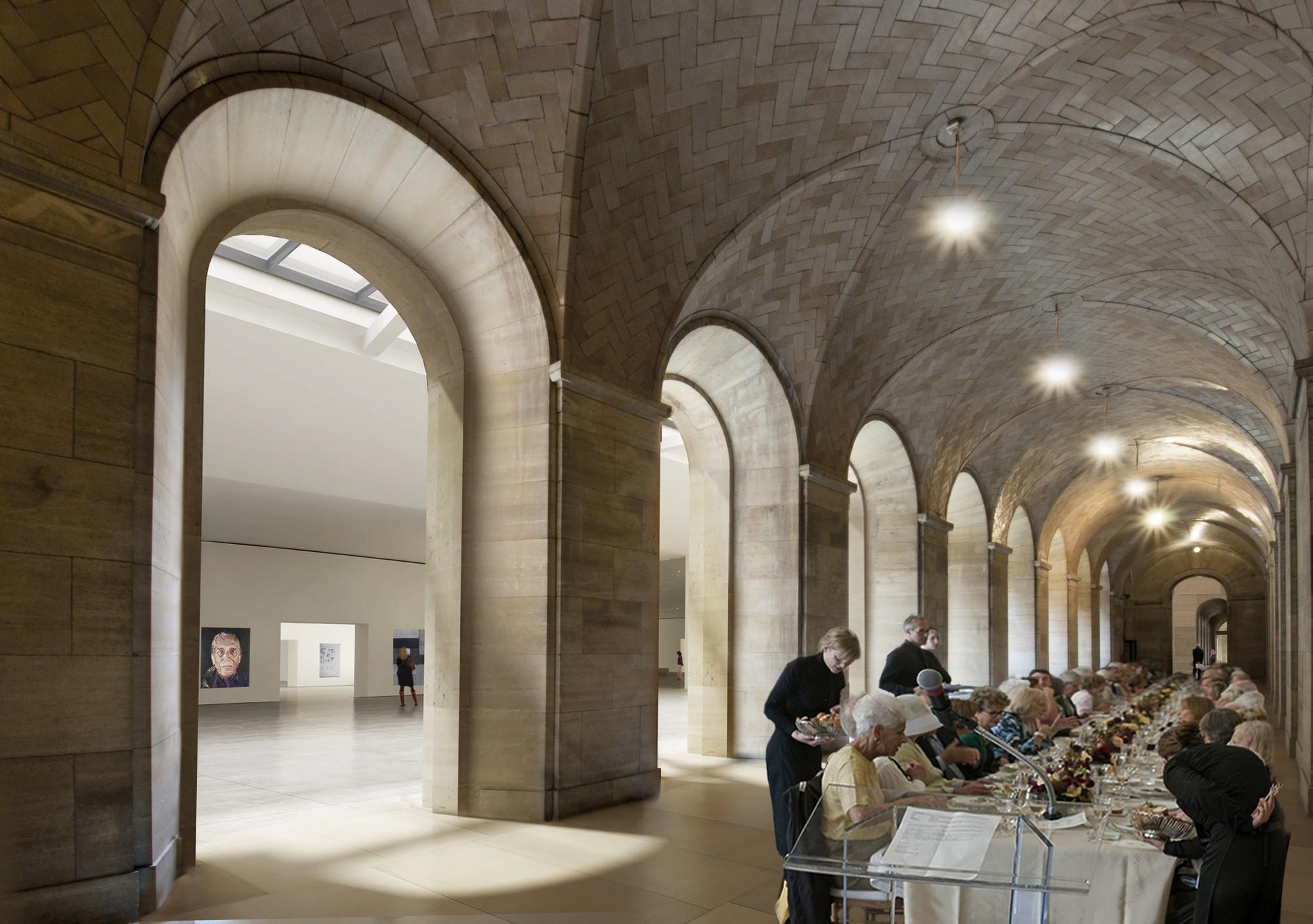La pasarela de la bóveda subterránea, largamente cerrada al público, se convertirá en un espacio para eventos artísticos, con accesos al norte (Kelly Drive) y al sur (Schuylkill River)del edificio. Imágen © Gehry Partners, LLP