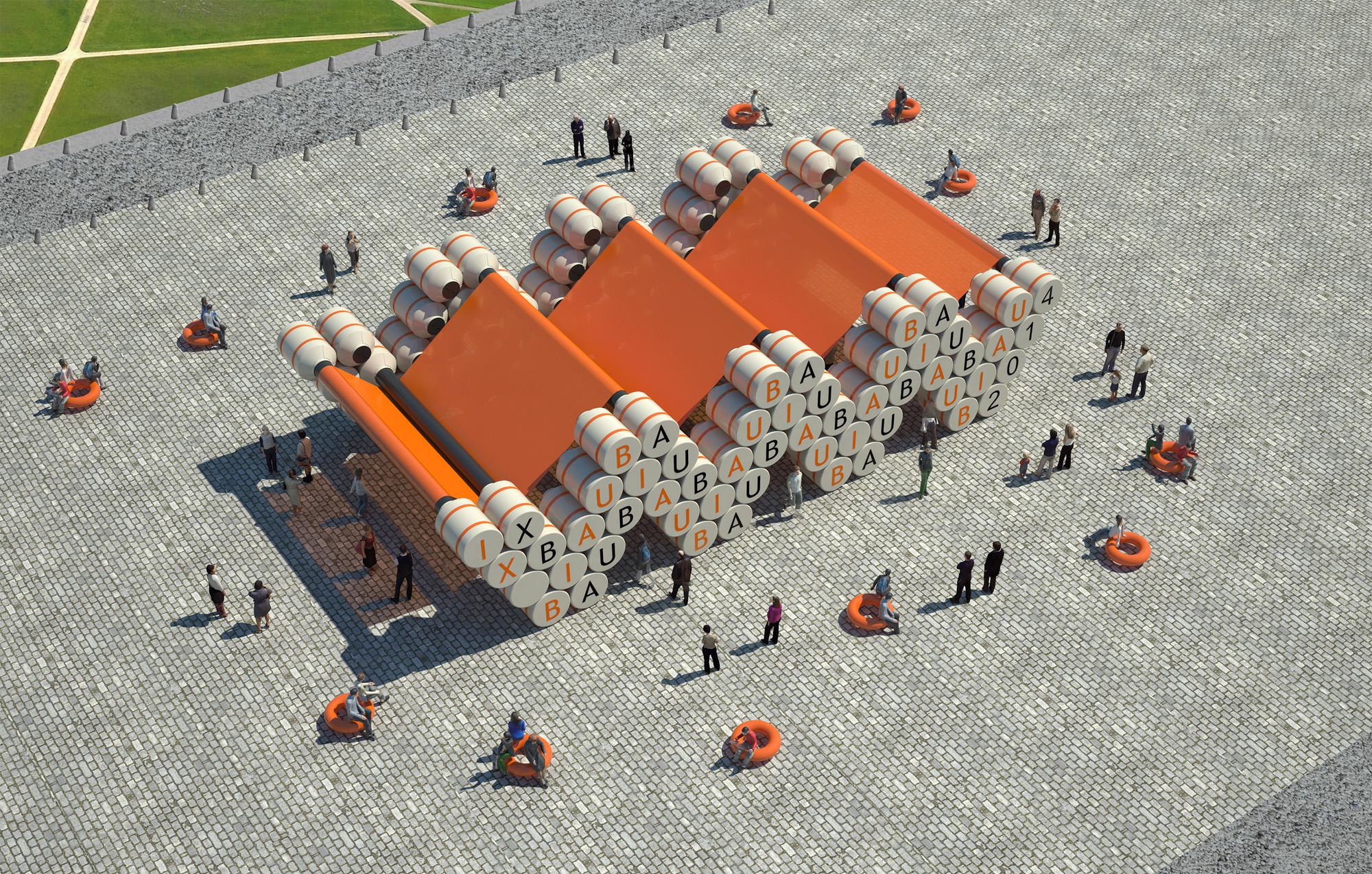 IX BIAU: proponen pabellón temporal construido con tanques de agua a utilizar en futuro barrio residencial, Courtesy of Stereo Tank + Federico Pellegrini