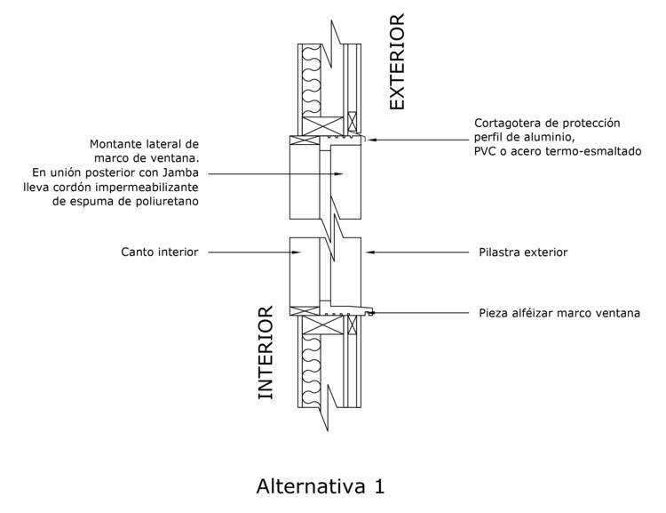 Solución de ventana en tabique ventilado