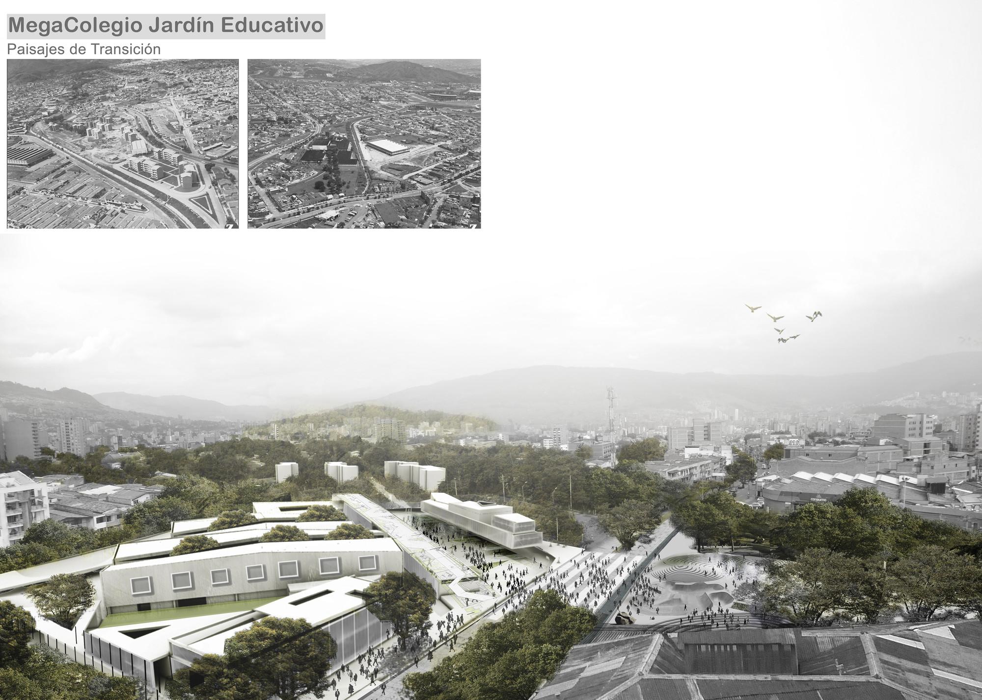 MegaColegio Jardín Educativo Ana Díaz, equipamiento educacional a escala urbana en Medellín, MegaColegio: vista general. Image Courtesy of Equipo desarrollador