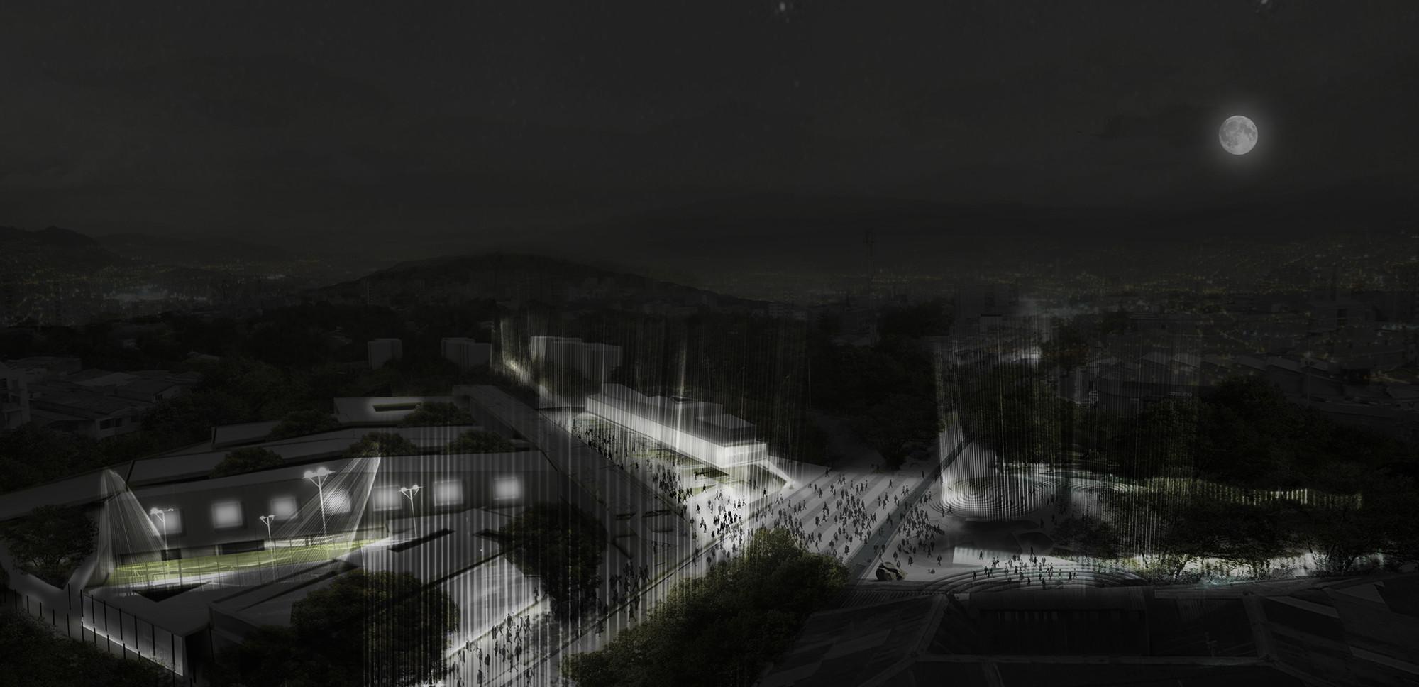 MegaColegio: vista nocturna. Image Courtesy of Equipo desarrollador
