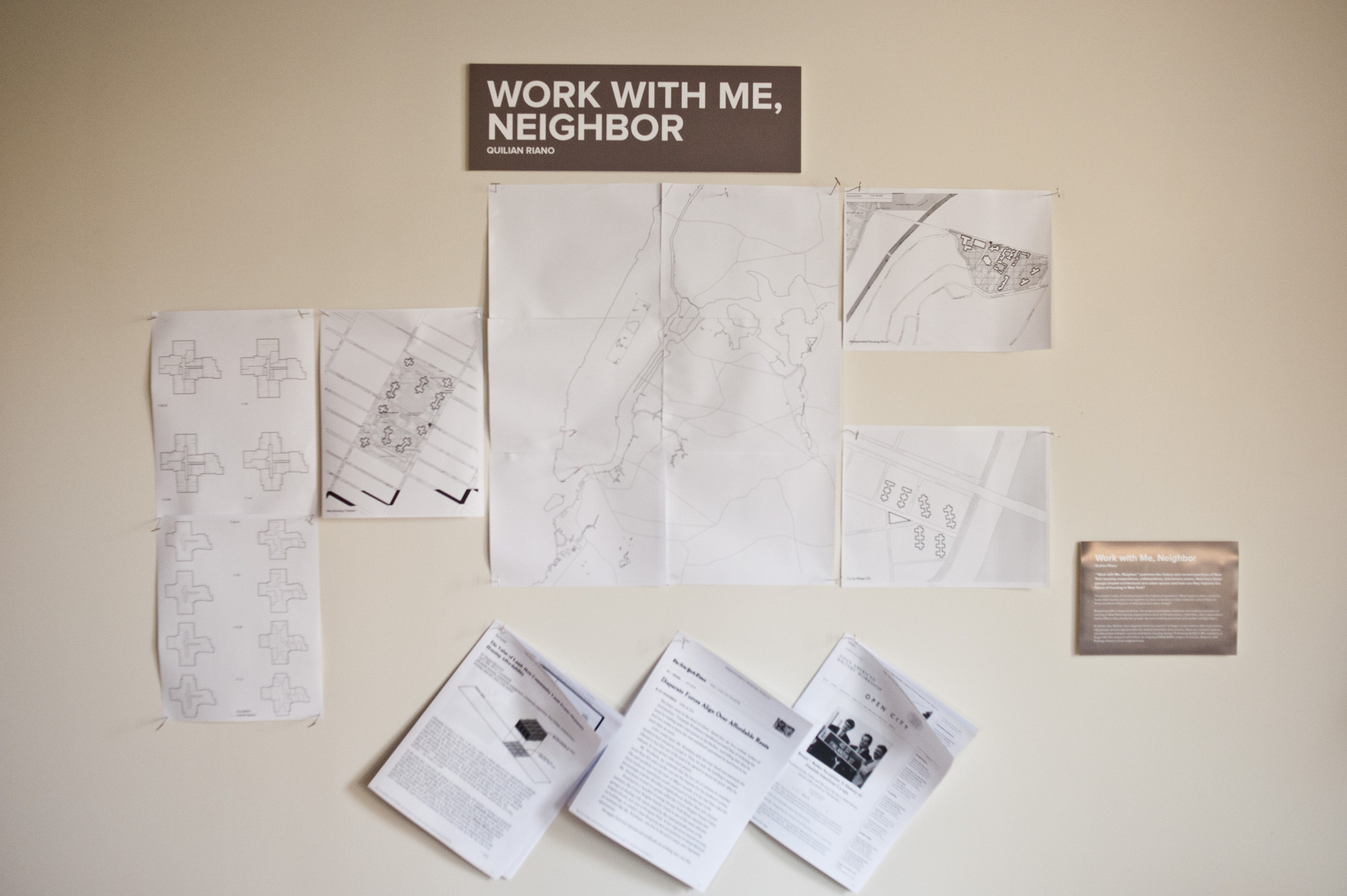 "Exhibition: Total Reset, Institute for Public Architecture exhibition on public and affordable housing in NYC, ""Total Reset."" Installation by IPA Fellow Quilian Riano: ""Work with Me, Neighbor."""