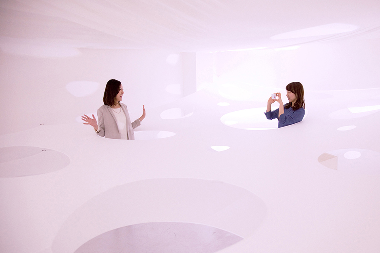 Kotaro Horiuchi Architecture's Installation of Floating, Perforated Membranes, © Issei Mori