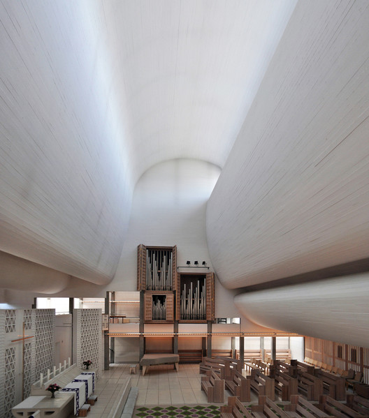 "Bagsværd Church, by Jørn Utzon, is commonly cited as an example of ""Critical Regionalism."" However, according to Salilngaros' Unified Architectural Theory, ""Critical Regionalism"" does not go far enough in removing architecture from the influence of Modernist principles. Image © Flickr User seier + seier - http://www.flickr.com/photos/seier/"