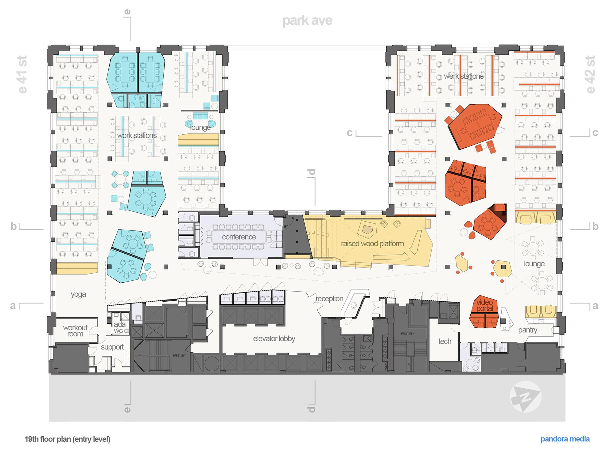 Gallery of pandora media inc new york office aba studio for Office interior design layout plan