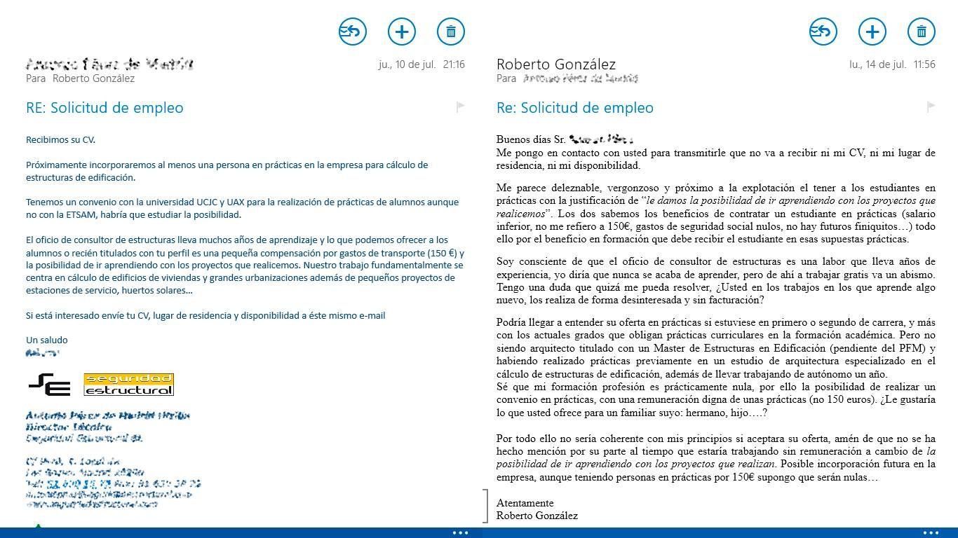 Mail y respuesta a oferta de práctica [Roberto Gdc]. Image © SArq