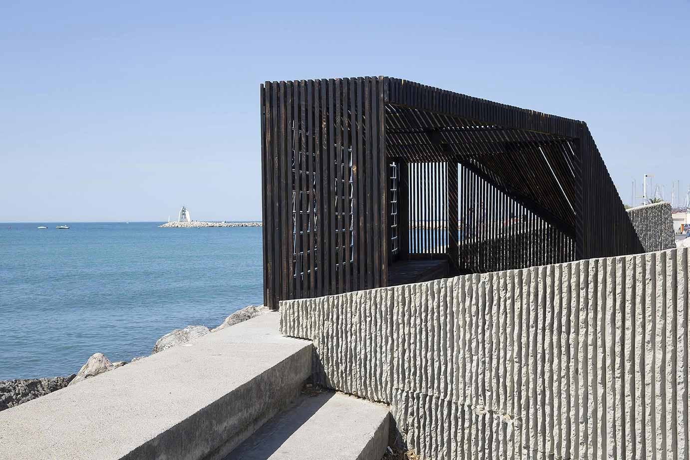 gallery of mirrored seafront pavilion among seven installations at festival des architectures. Black Bedroom Furniture Sets. Home Design Ideas