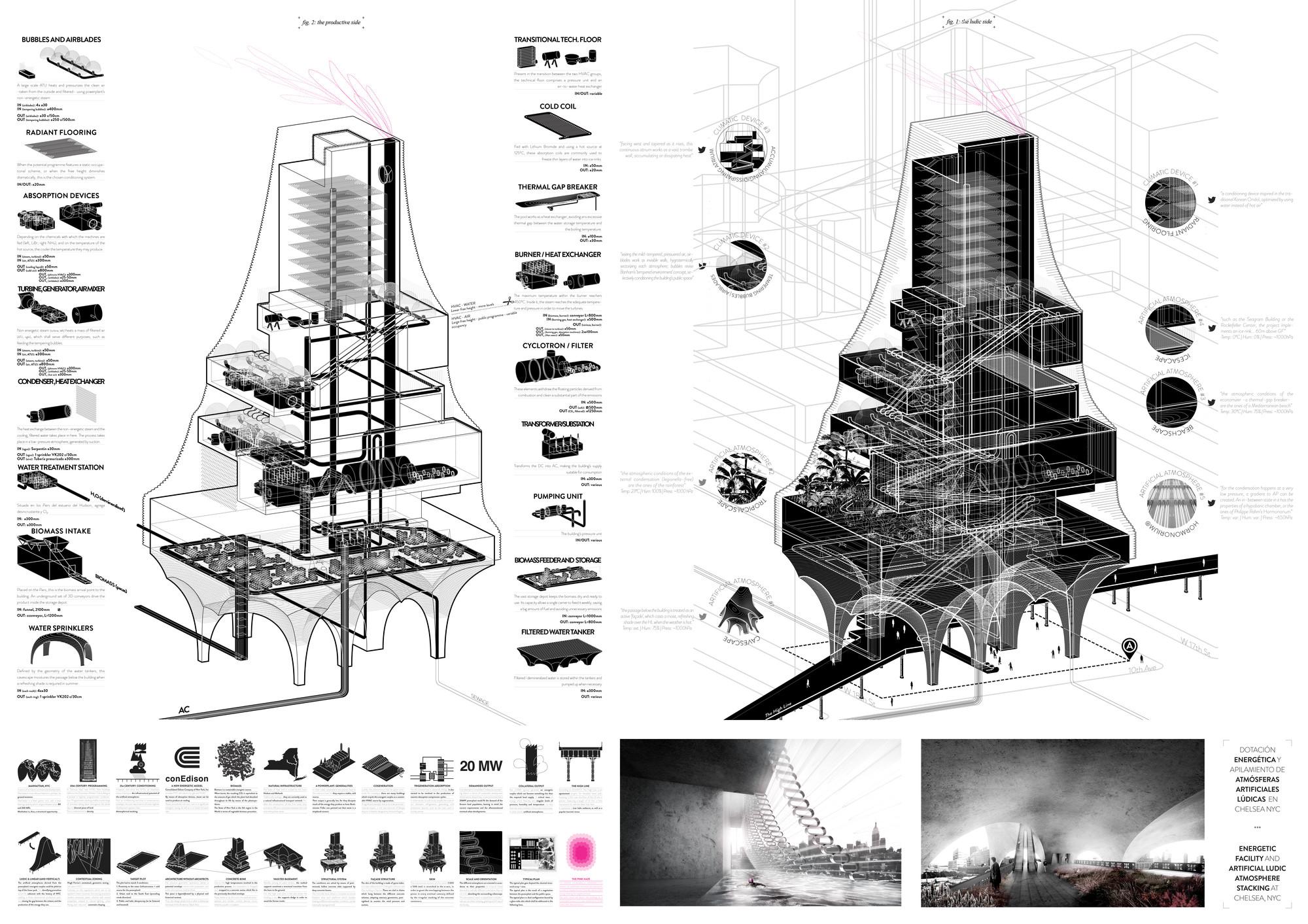 Mención Honrosa: Dotación energética y apilamiento de atmósferas artificiales en Chelsea. Image Courtesy of IS ARCH