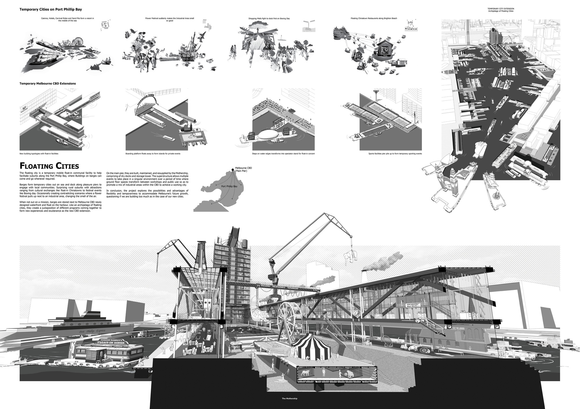 Mención Honrosa: Floating Cities. Image Courtesy of IS ARCH