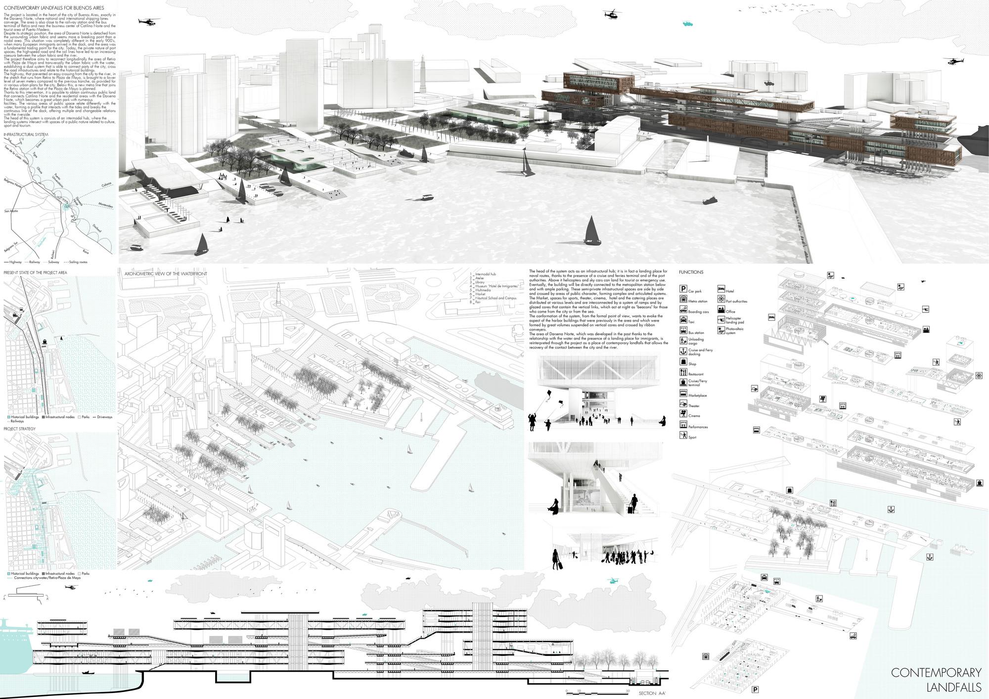 Mención Honrosa: Contemporary Landfalls. Image Courtesy of IS ARCH