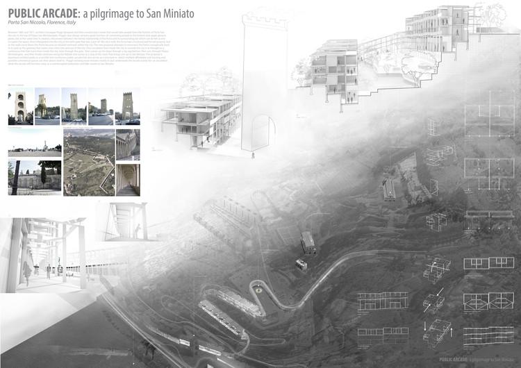 Mención Honrosa:Public Arcade_a pilgrimage to San Miniato. Image Cortesía de IS ARCH