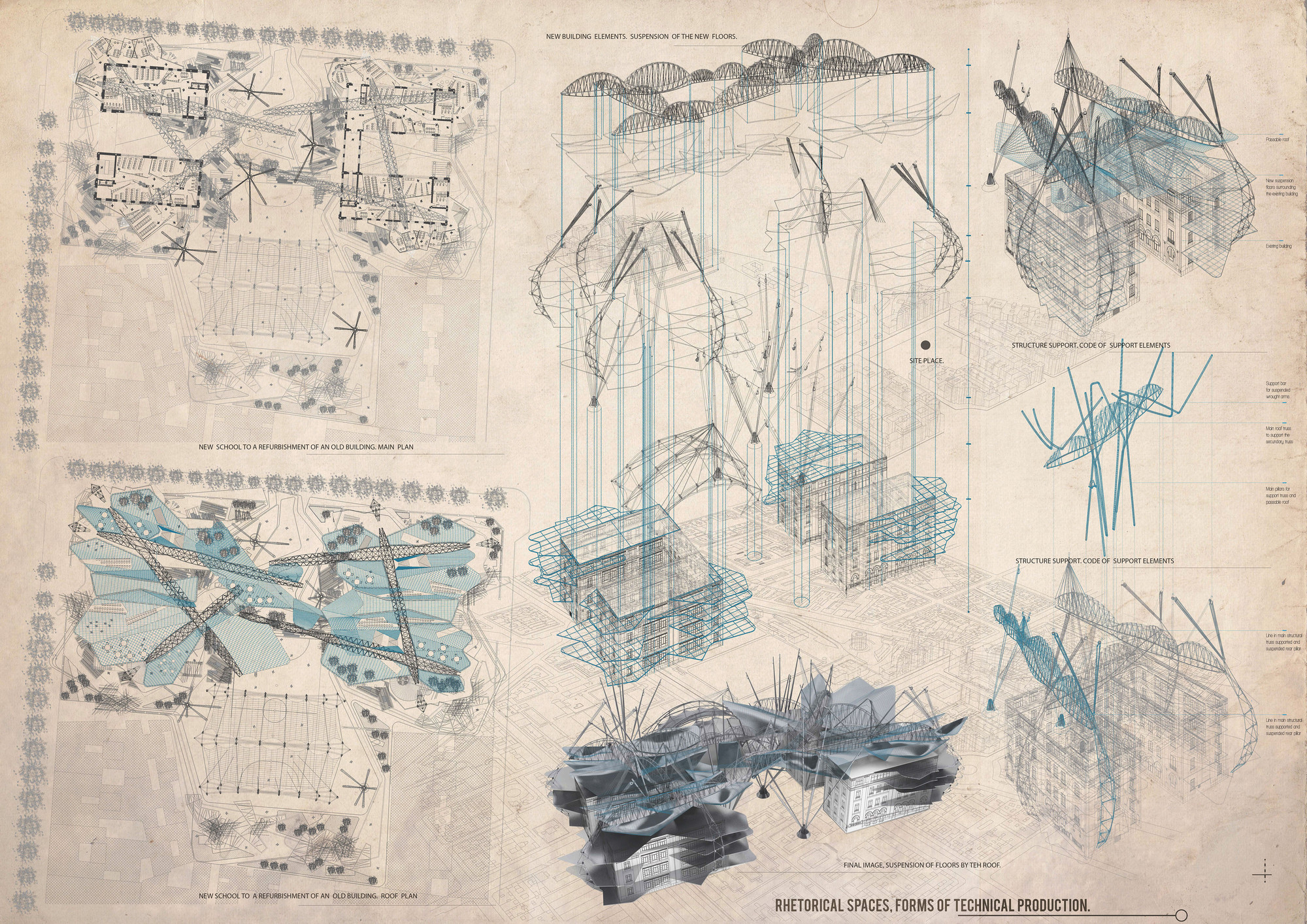 Mención Honrosa: Rethorical spaces forms of technical production. Image Courtesy of IS ARCH