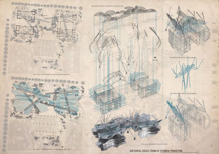 Mención Honrosa: Rethorical spaces forms of technical production. Image Cortesía de IS ARCH