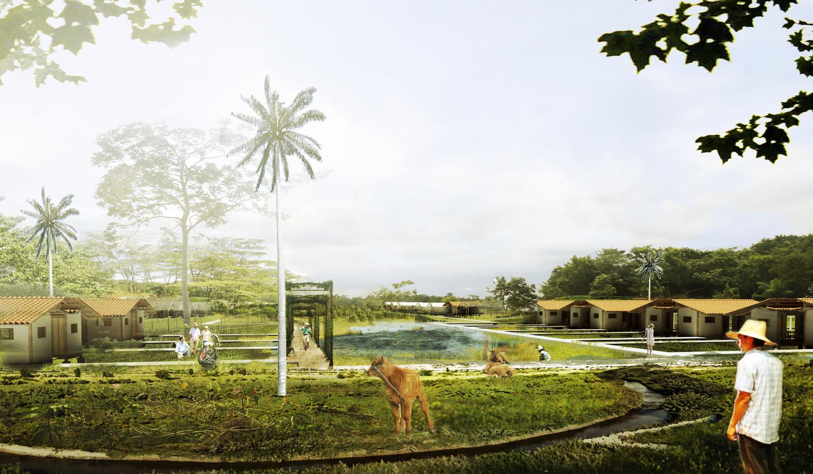 Guafilla, agrocentro + asociación: vivienda. Image Courtesy of Equipo Primer Lugar
