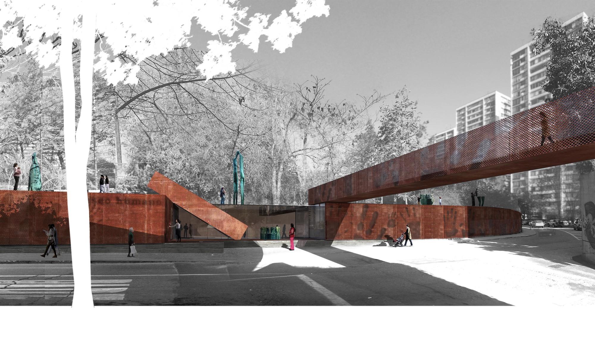 ELEMENTAL, finalista en concurso Nuevo Parque Museo Humano San Borja / Santiago, Acceso. Image Courtesy of ELEMENTAL