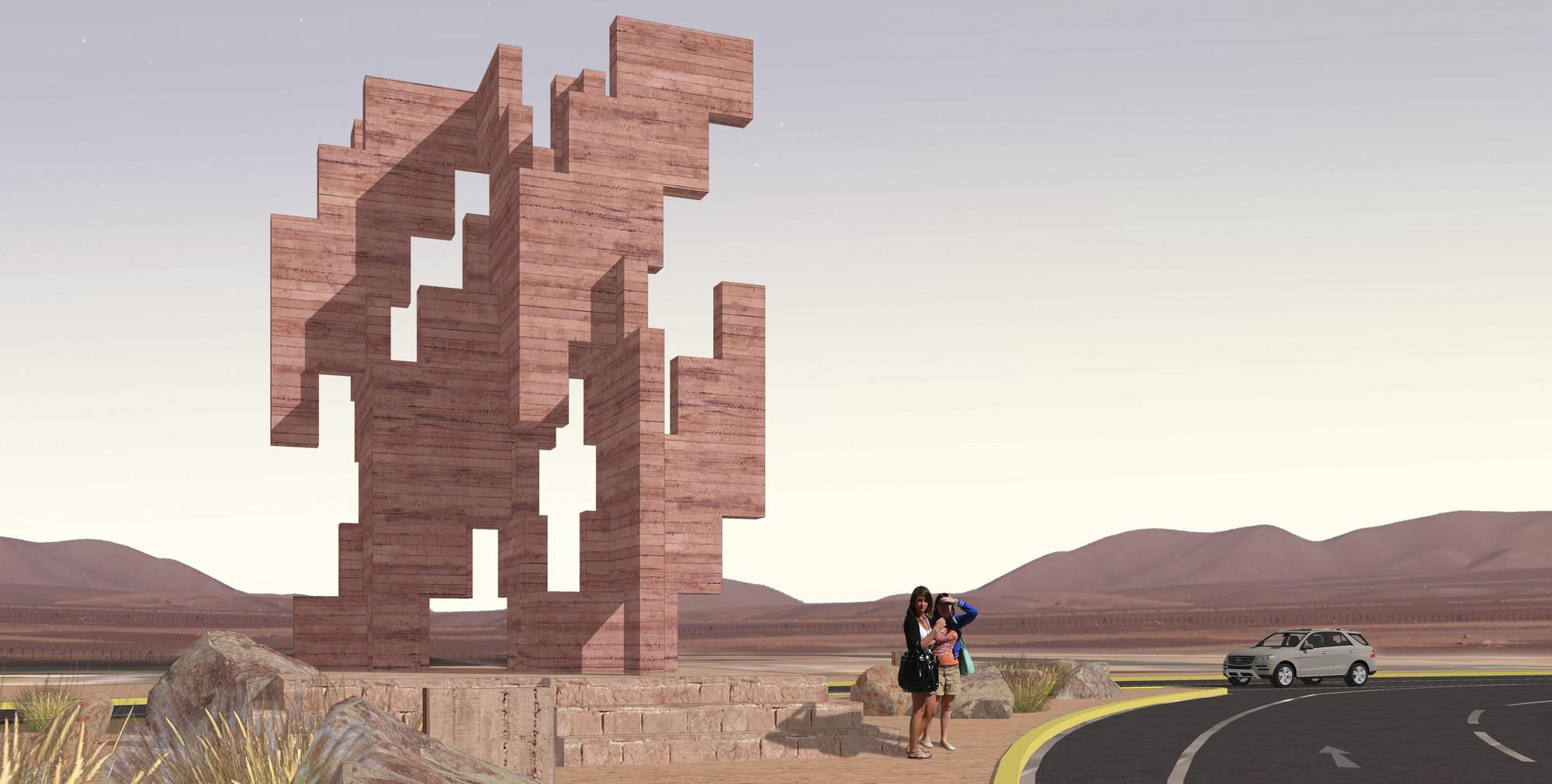 Trama del Tiempo, la escultura que se convertirá en un nuevo hito para el norte de Chile, Fotomotaje. Image Courtesy of Edison Suau