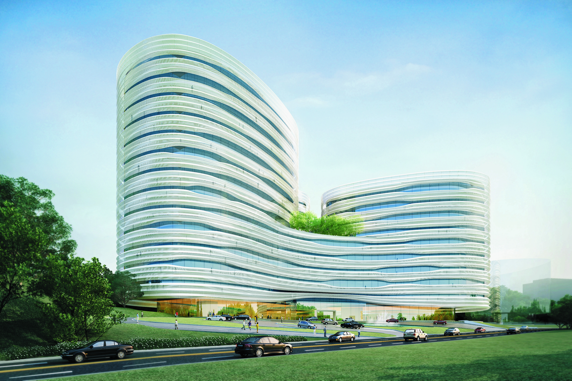 Cj Cheiljedang Research And Development Center Seoul South Korea Exterior Rendering From Southwest