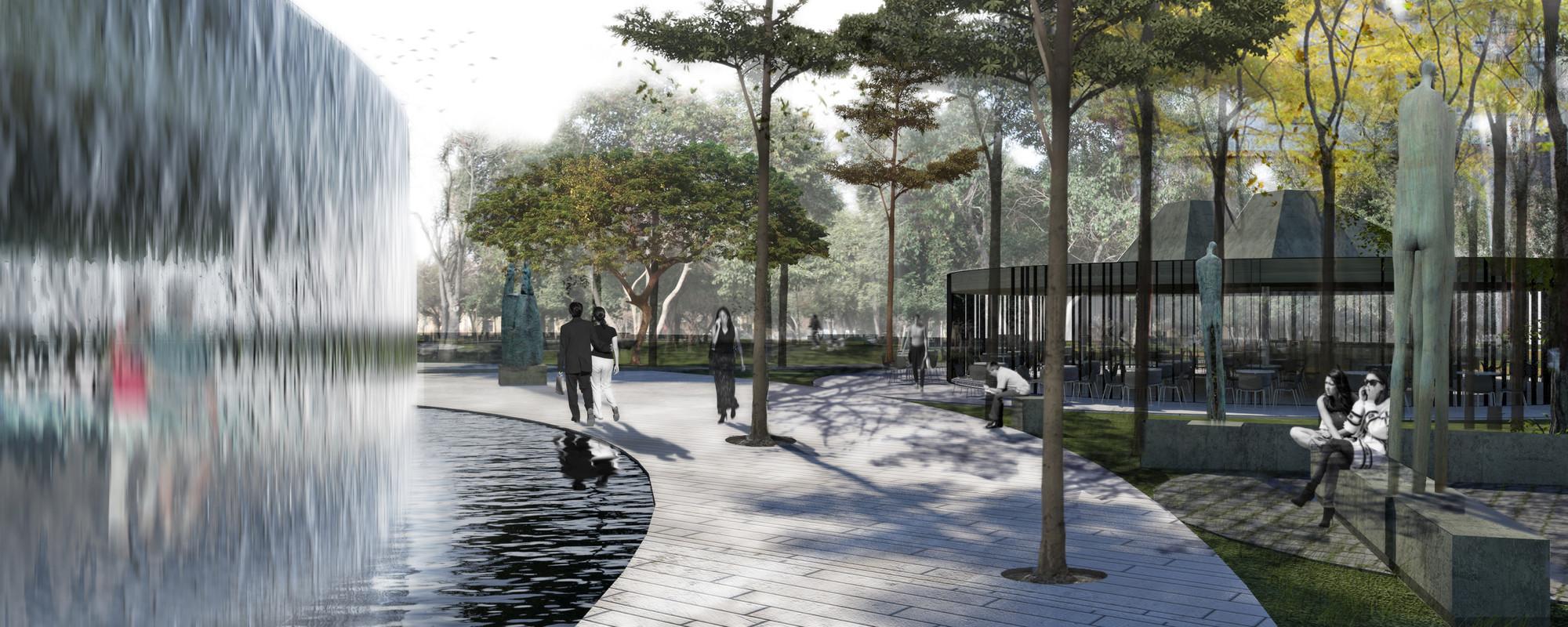 Parque y cafetería. Image Cortesia de Gerardo Valle P. Arquitectos Asociados + Winckler Arquitectos Asociados