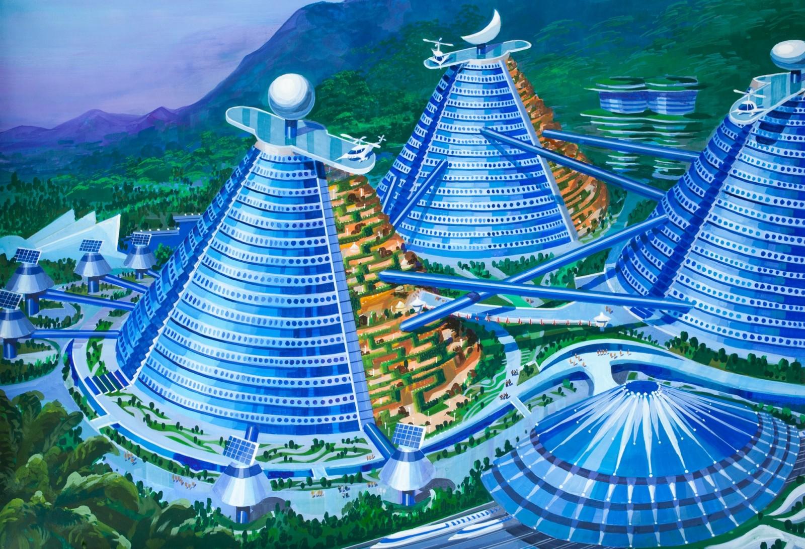 """""""Hoteles montañas cónicas"""", conectados en varios puntos por pistas de ski. Imagen cortesía de Koryo Tours"""