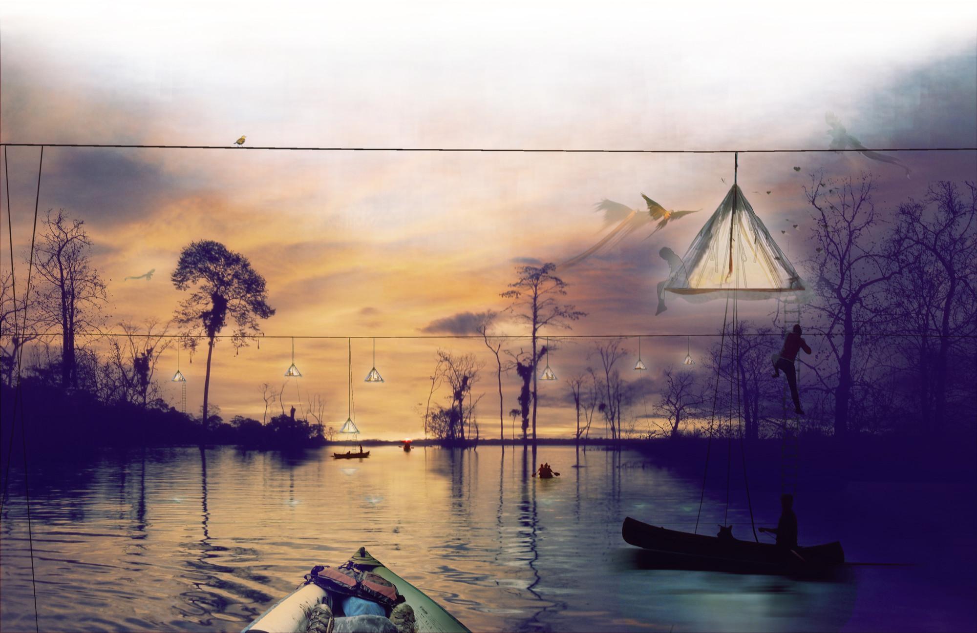 Primer Lugar en Concurso de Ideas Nature Observatory of Amazonia (NOA) / Brasil, Cortesia de Equipo Primer Lugar