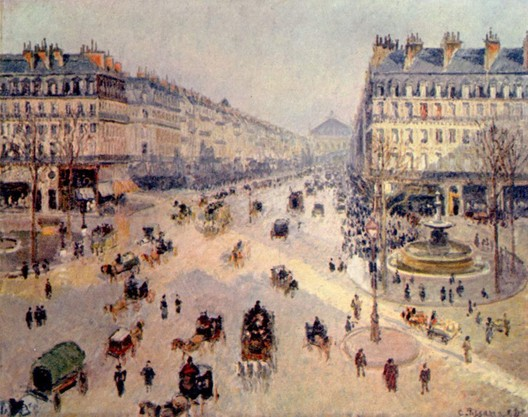 A gentrified street in Paris, L'Avenue d'Opera, painted by Camille Pissarro in 1898
