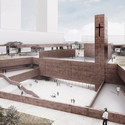 View of the Church and main Plaza. Image Courtesy of PWFERRETTO / ESOU Architects