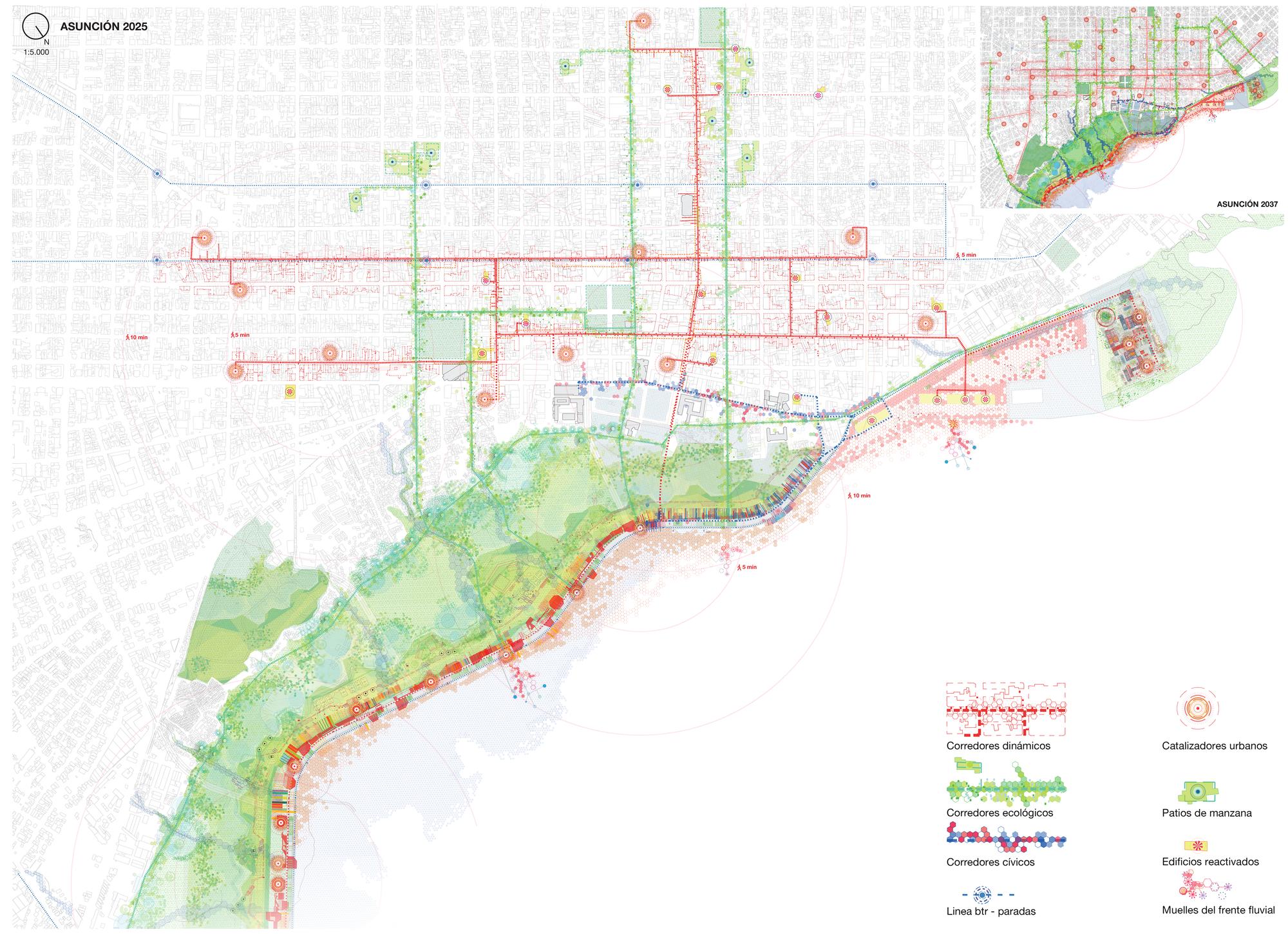 Plano general de la propuesta, mostrando la distribución de los corredores dinámicos, ecológicos y cívicos, así como los edificios catalizadores, los muelles fluviales y las principales paradas de transporte público.. Image © Ecosistema Urbano