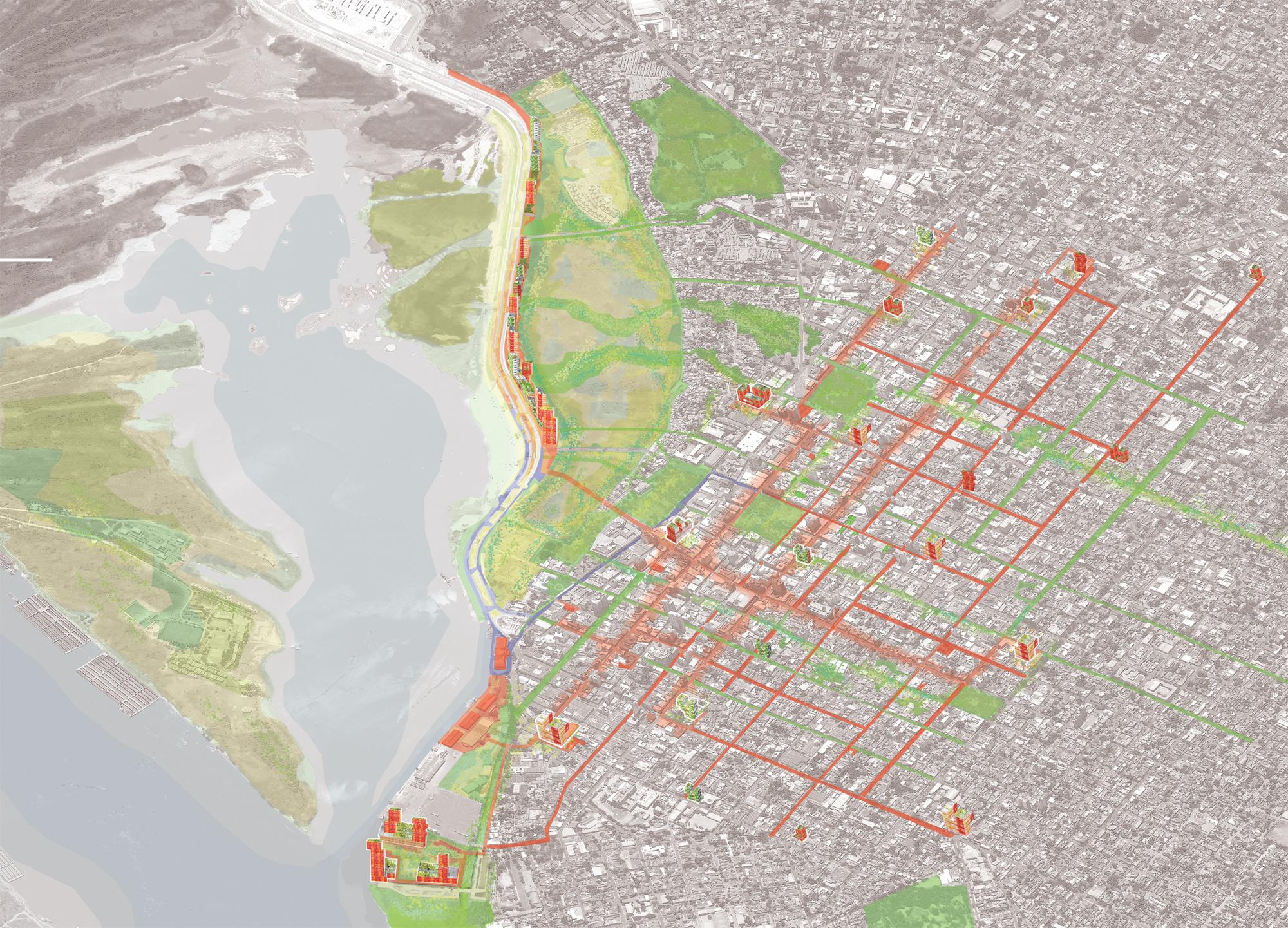 Asunción 2037: vista general de la propuesta, mostrando la distribución de los corredores dinámicos, ecológicos y cívicos, así como los edificios catalizadores.. Image © Ecosistema Urbano