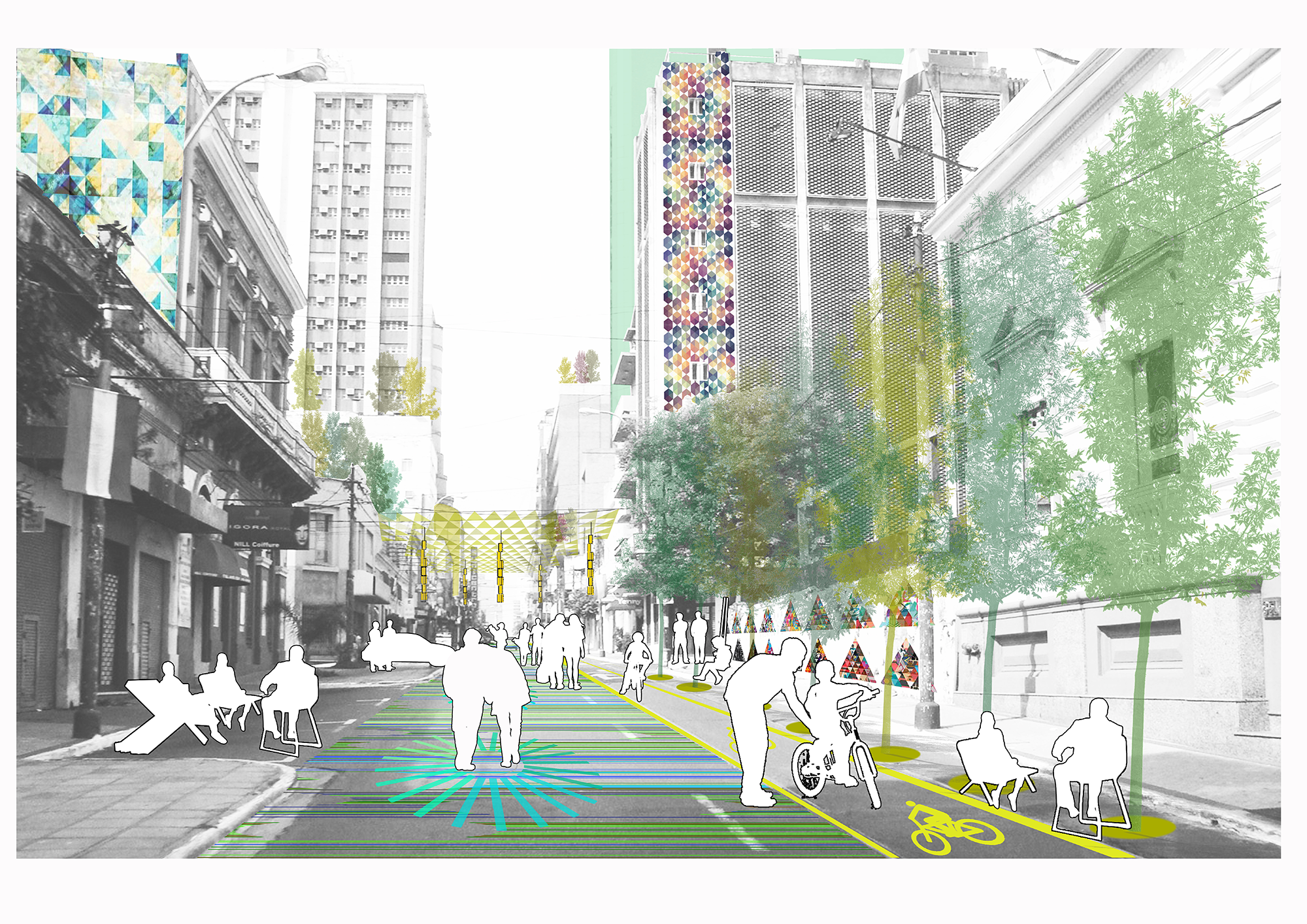 Recreación gráfica del corredor ecológico: Paso #2. Image © Ecosistema Urbano