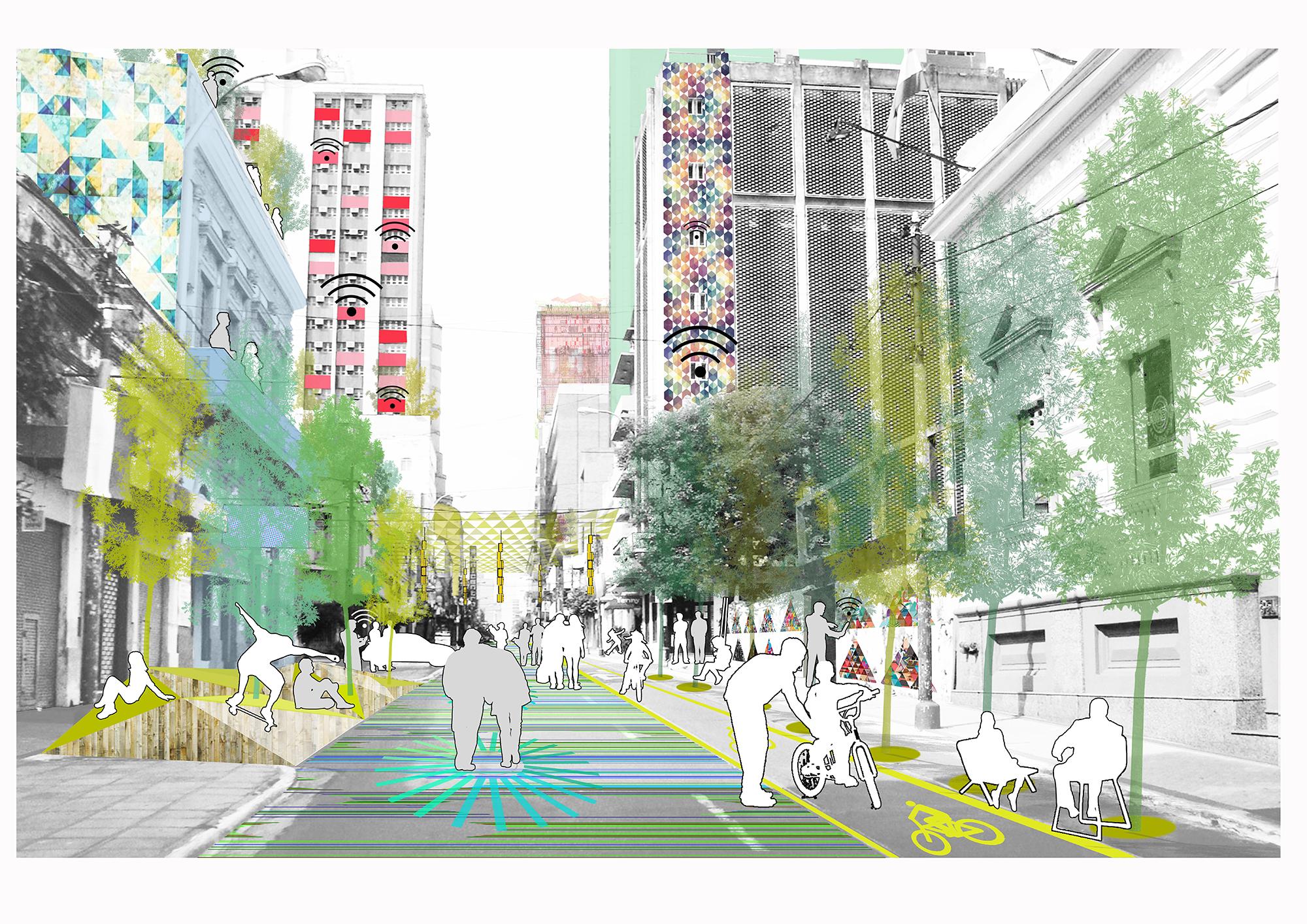 Recreación gráfica del corredor ecológico: Paso #3. Image © Ecosistema Urbano
