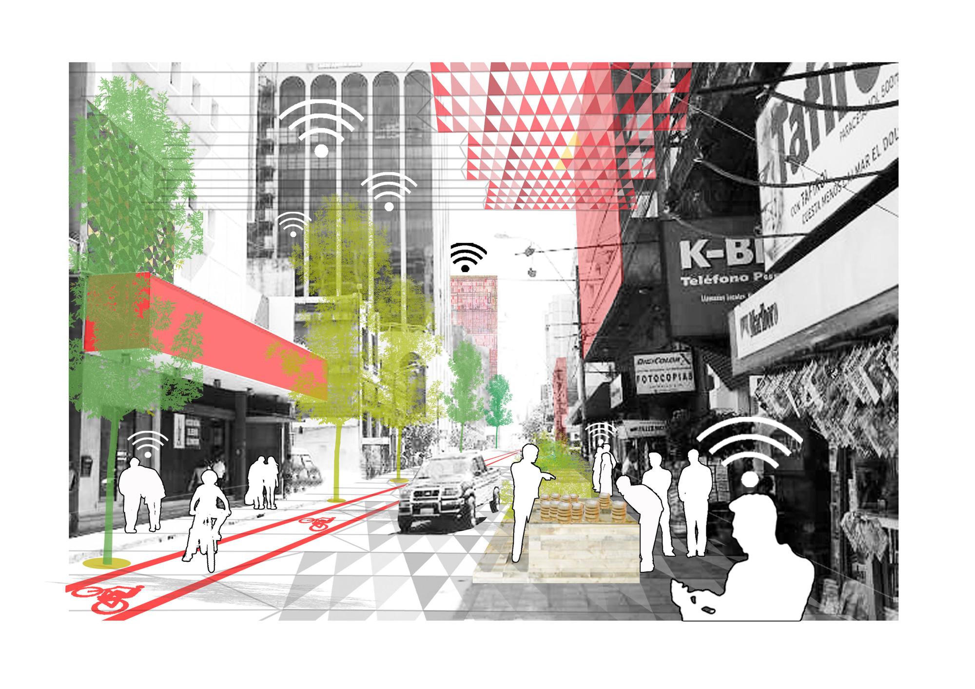 Recreación gráfica del corredor dinámico, calle con tráfico rodado.. Image © Ecosistema Urbano