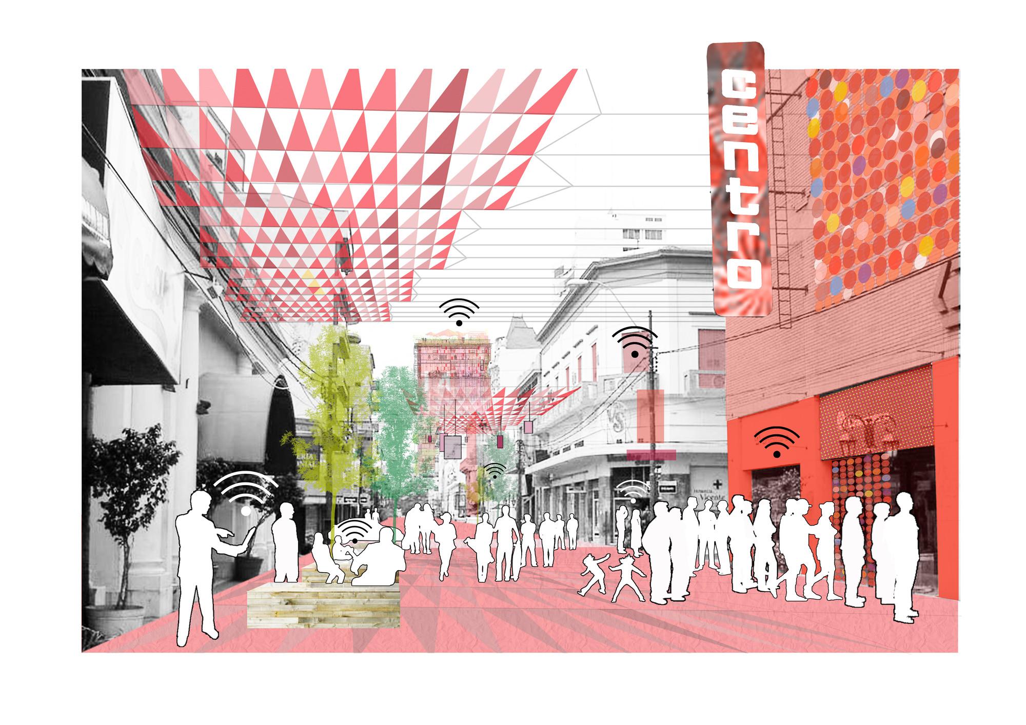 Recreación gráfica del corredor dinámico, calle peatonal: Paso #3. Image © Ecosistema Urbano