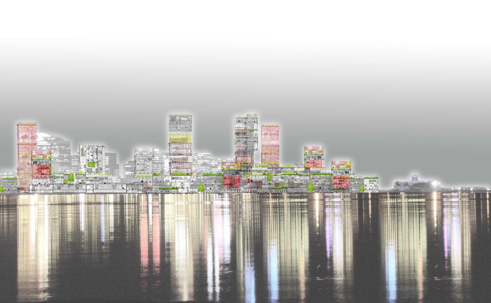 Recreación gráfica del skyline en el frente fluvial de la ciudad.. Image © Ecosistema Urbano