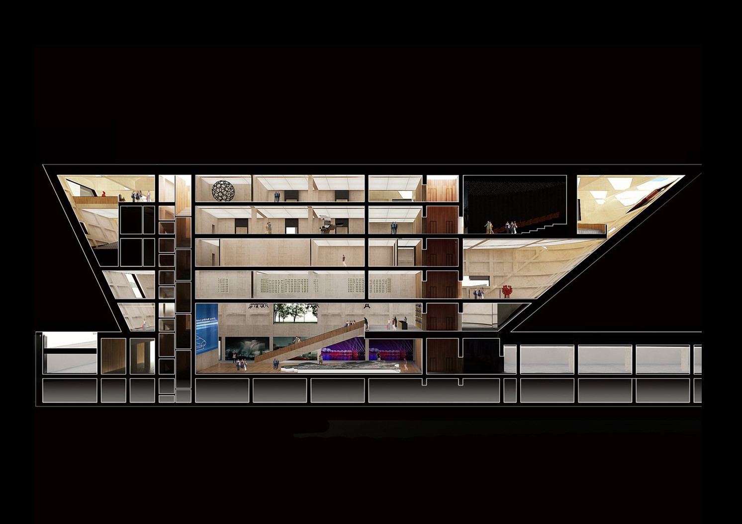 Section (Book Mall). Image Courtesy of Mecanoo / Doug and Wolf