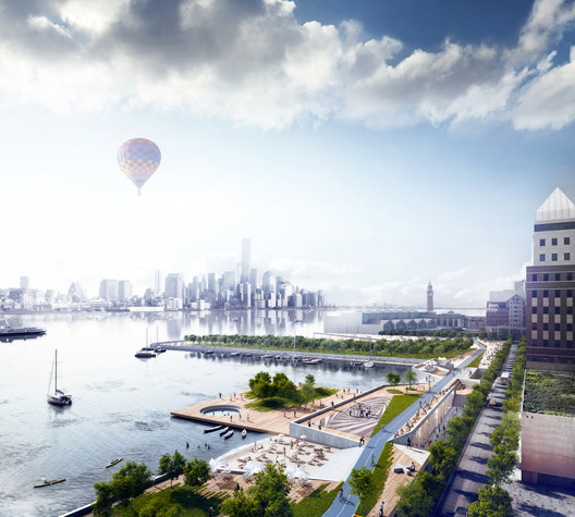 "OMA's proposed Hoboken Waterfront for the ""Rebuild by Design"" competition, which focused on resilience, sustainability and livability. Image © OMA"