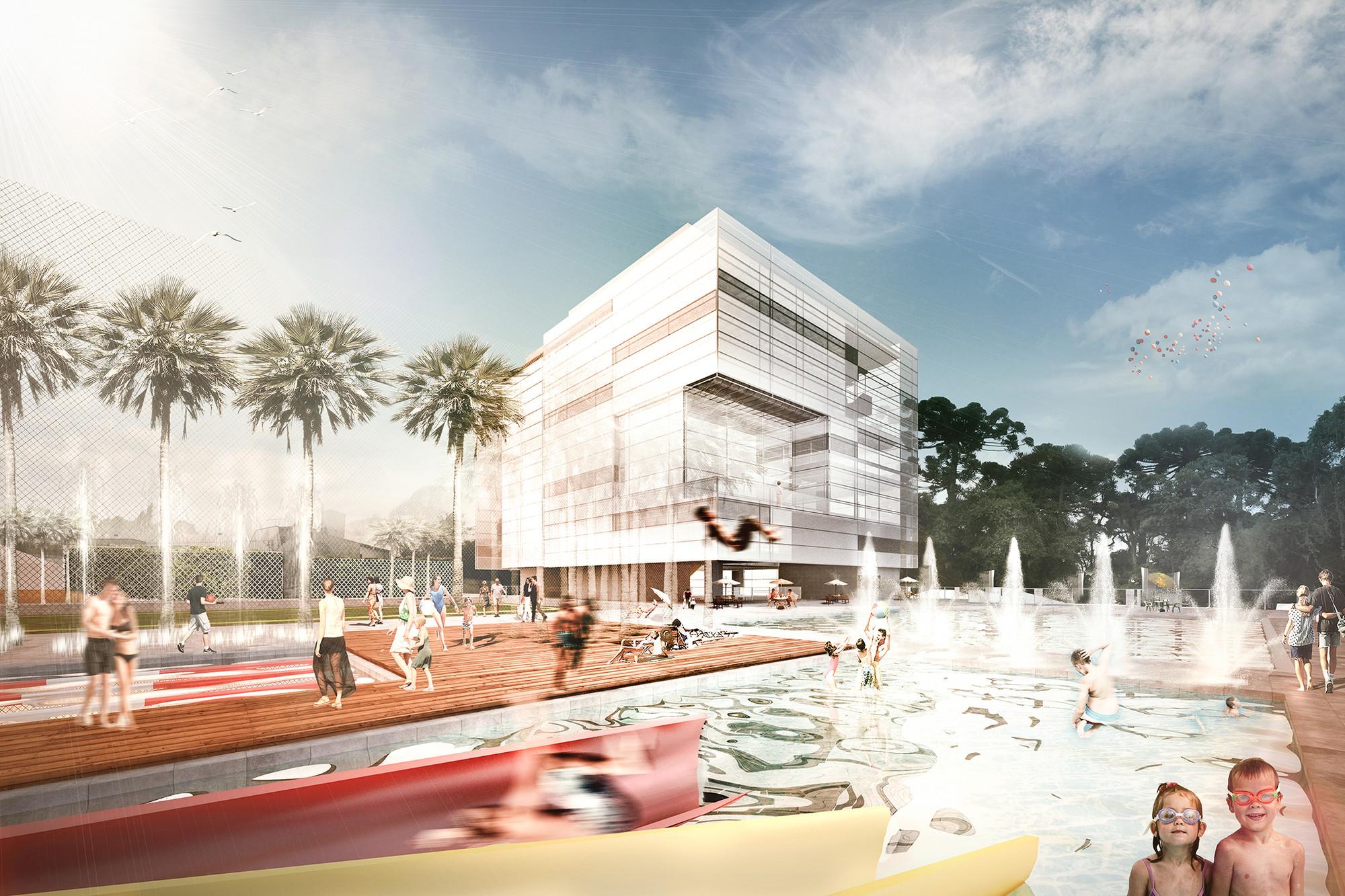 Edifício na primeira fase de construção e clube de piscinas. Image Courtesy of Arqbox