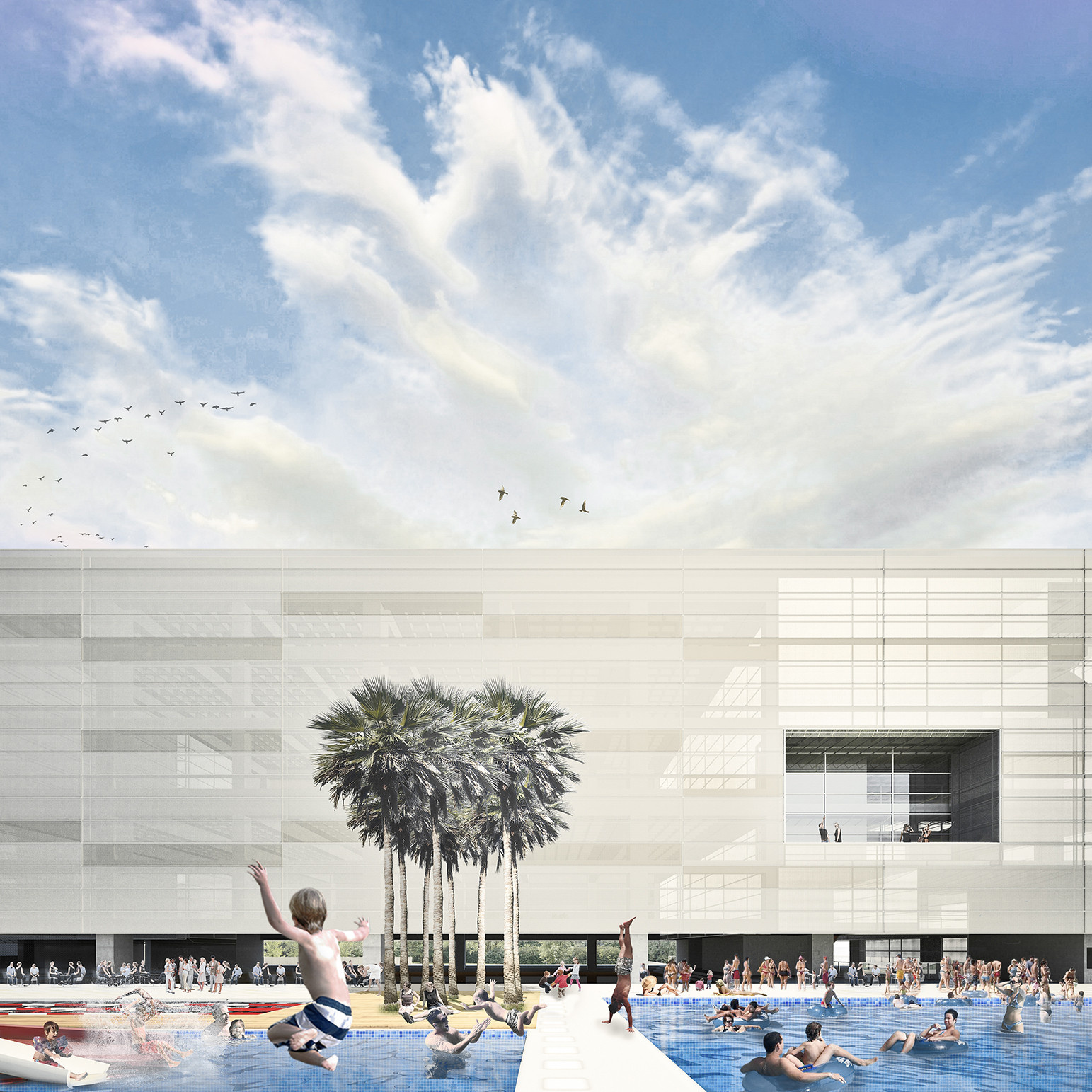 Edifício completo e clube de piscinas. Image Courtesy of Arqbox