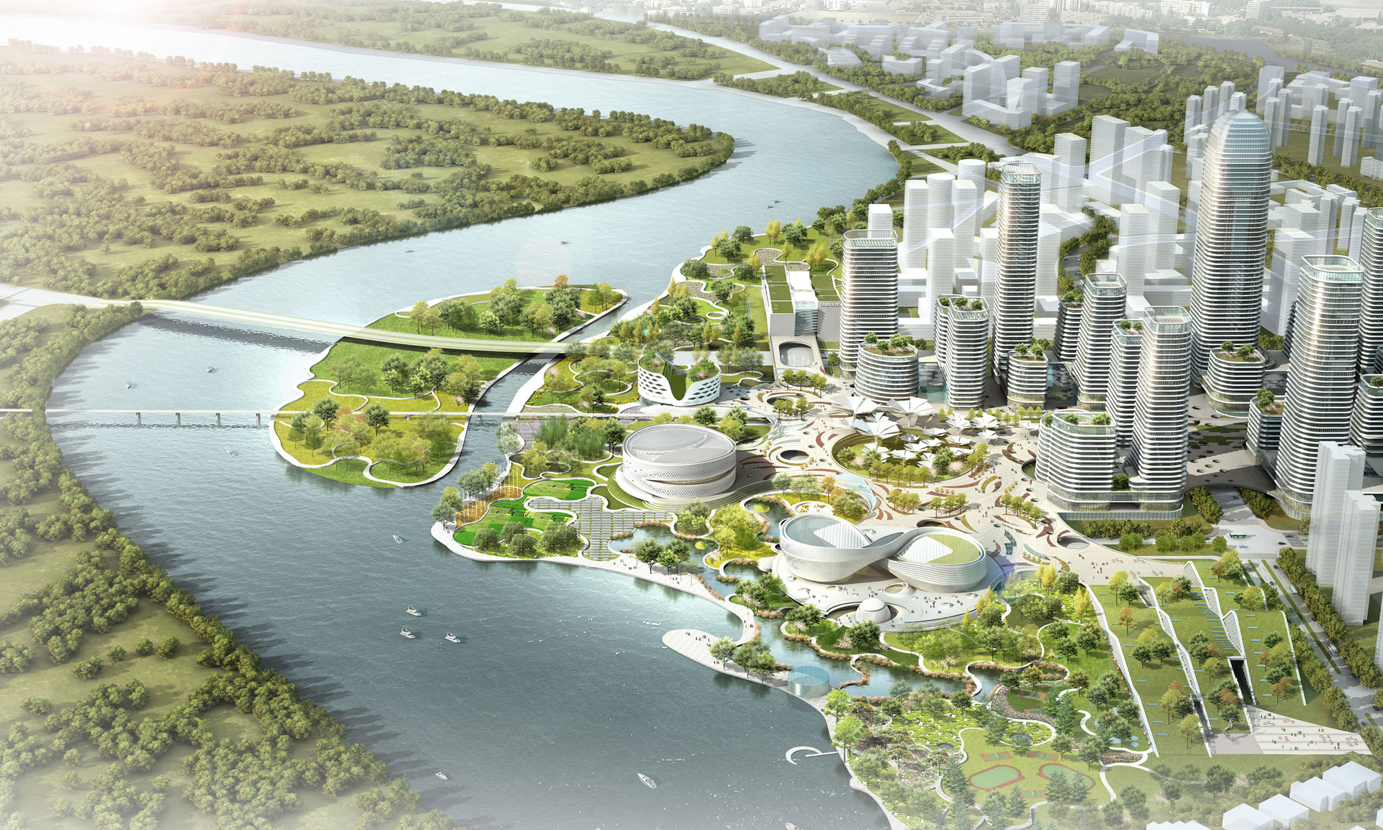 Master plan revealed for binhai eco city in tianjin for Eco landscape design