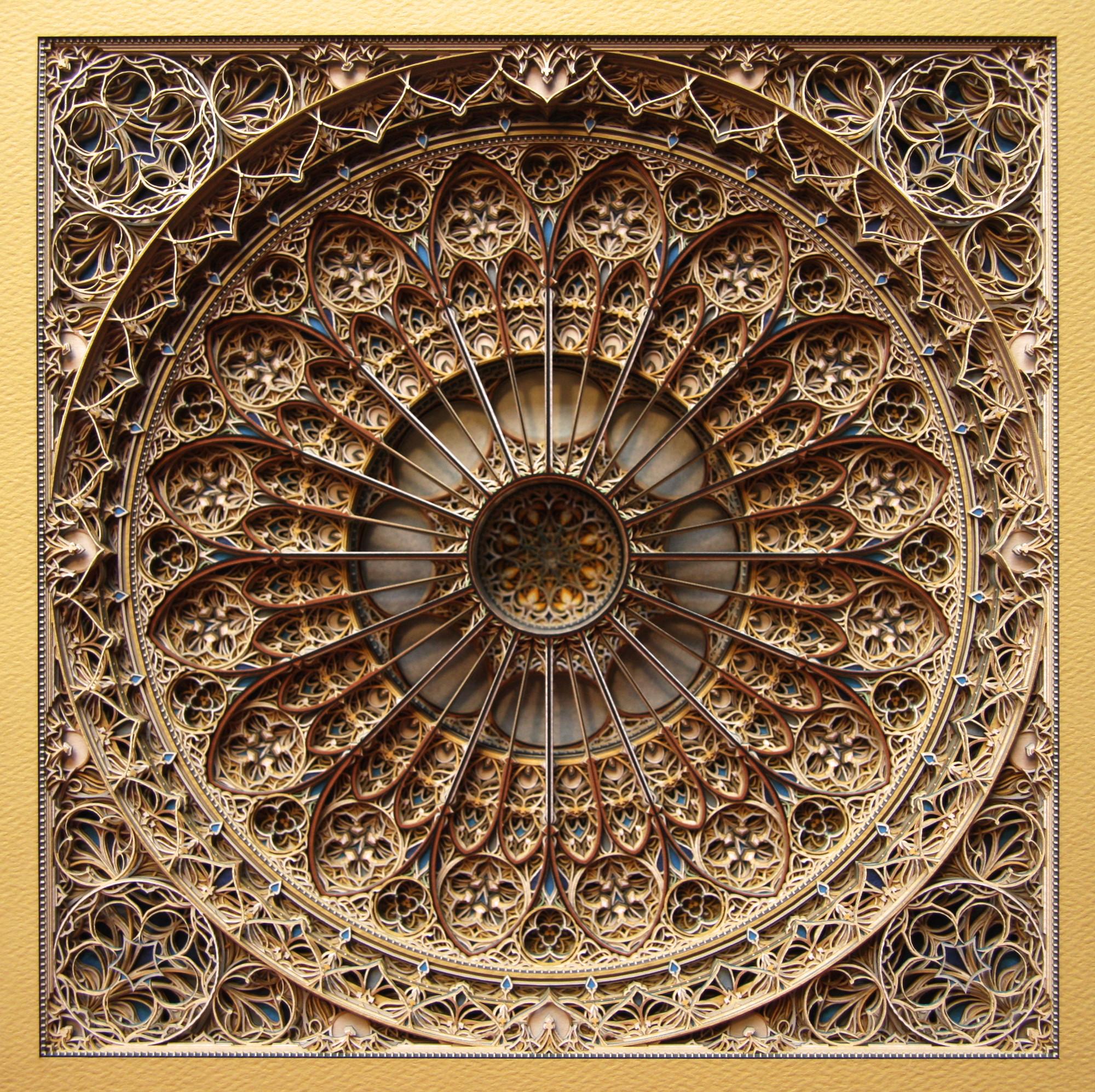 """Arte y Arquitectura: increíbles vitrales islámicos a partir de capas de papel recortado , Either/Or Newmarch, papel cortado, 20""""x20"""", 2013. Image Courtesy of Eric Standley"""