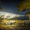Concept design for Air Pavilion on Canada Island, night rendering. Image © Olson Kundig Architects